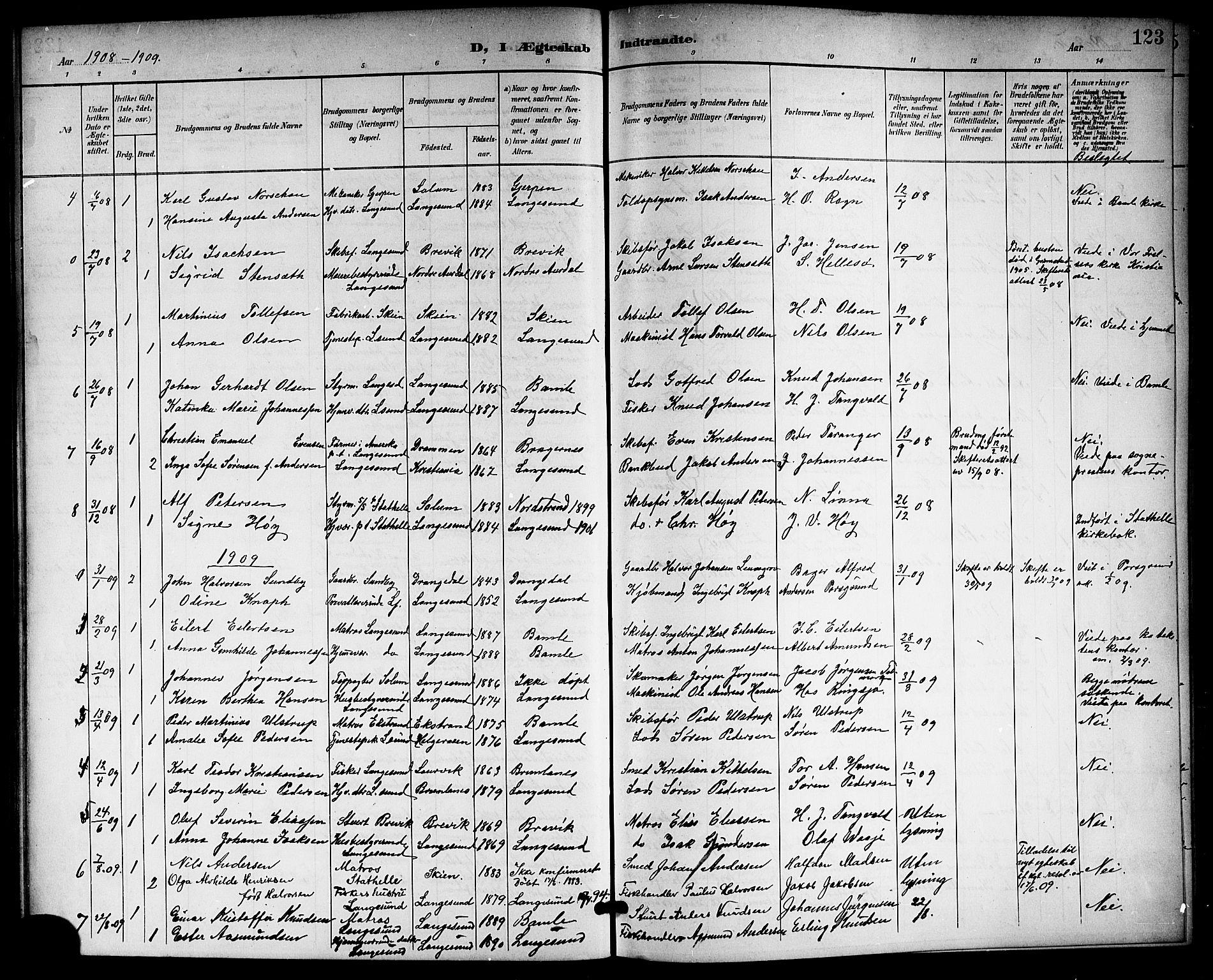 SAKO, Langesund kirkebøker, G/Ga/L0006: Klokkerbok nr. 6, 1899-1918, s. 123