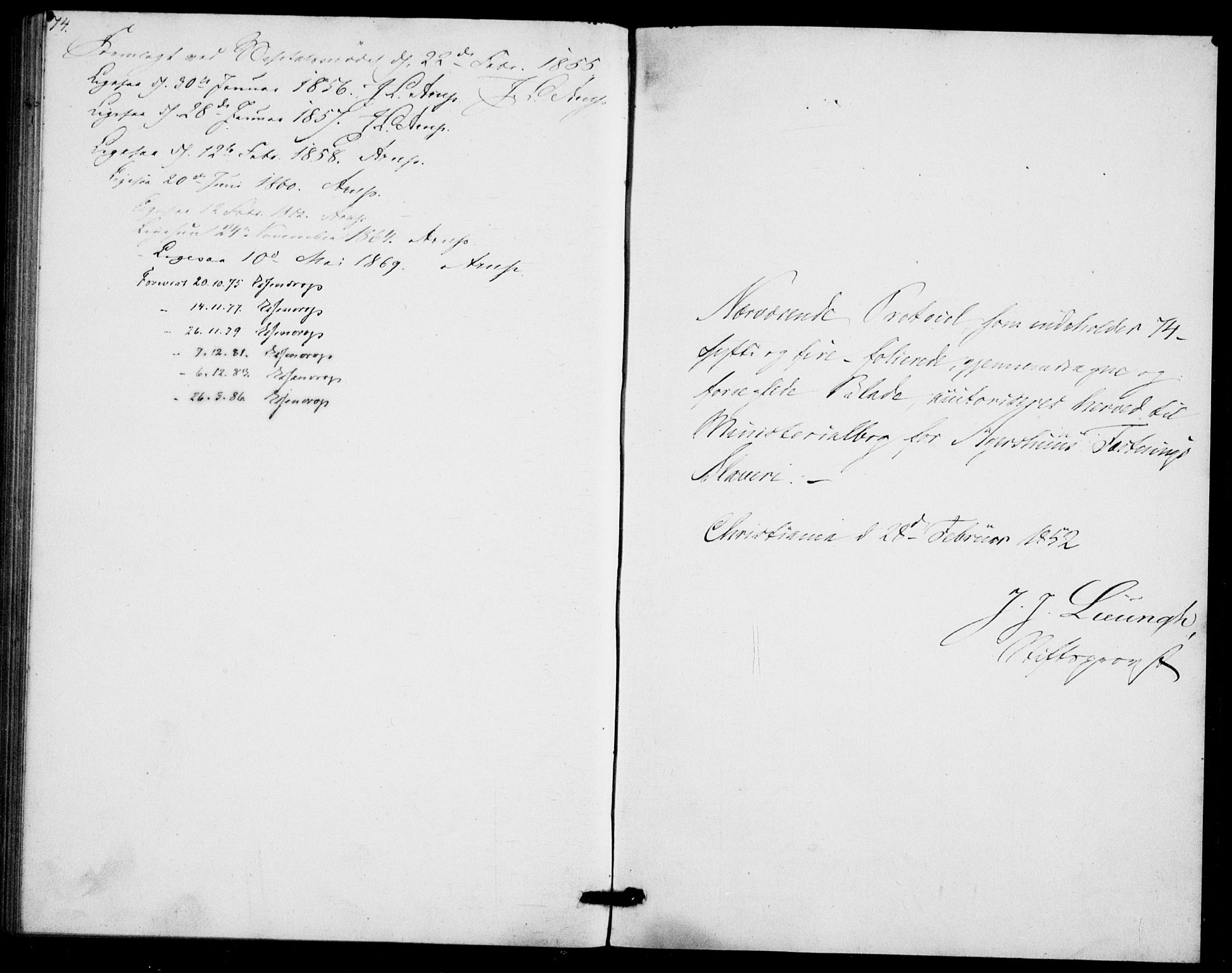 SAO, Akershus festnings slaveri Kirkebøker, F/Fa/L0002: Ministerialbok nr. 2, 1852-1883, s. 74