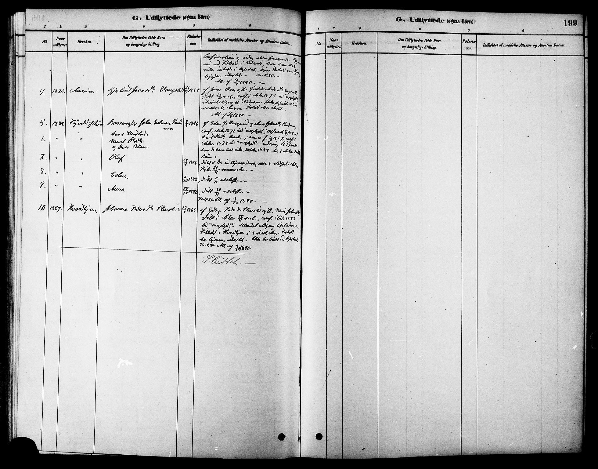 SAT, Ministerialprotokoller, klokkerbøker og fødselsregistre - Sør-Trøndelag, 686/L0983: Ministerialbok nr. 686A01, 1879-1890, s. 199
