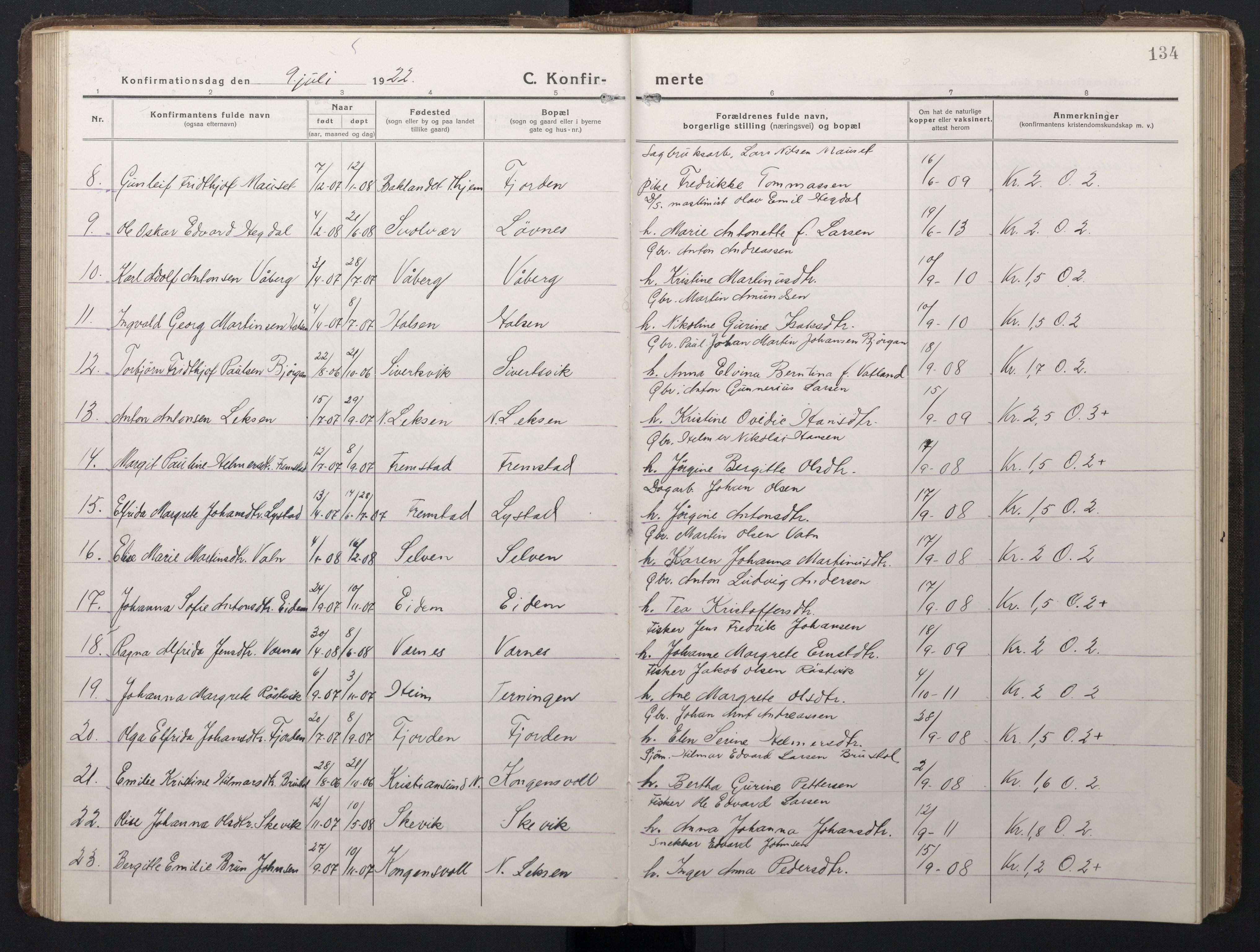 SAT, Ministerialprotokoller, klokkerbøker og fødselsregistre - Sør-Trøndelag, 662/L0758: Klokkerbok nr. 662C03, 1918-1948, s. 134