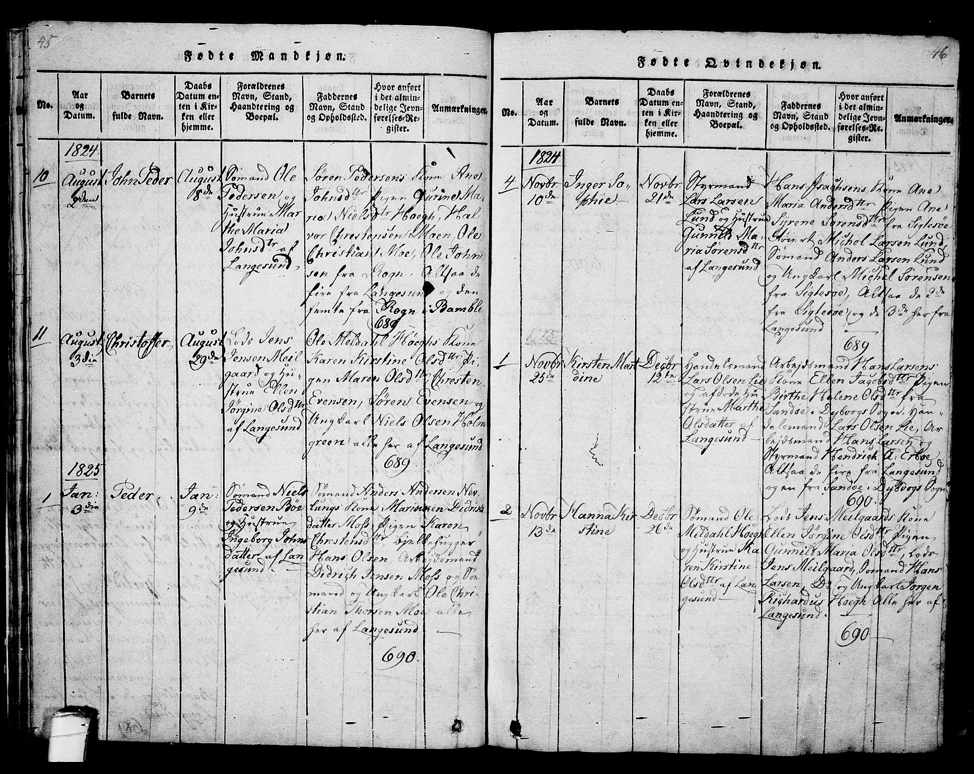 SAKO, Langesund kirkebøker, G/Ga/L0003: Klokkerbok nr. 3, 1815-1858, s. 45-46