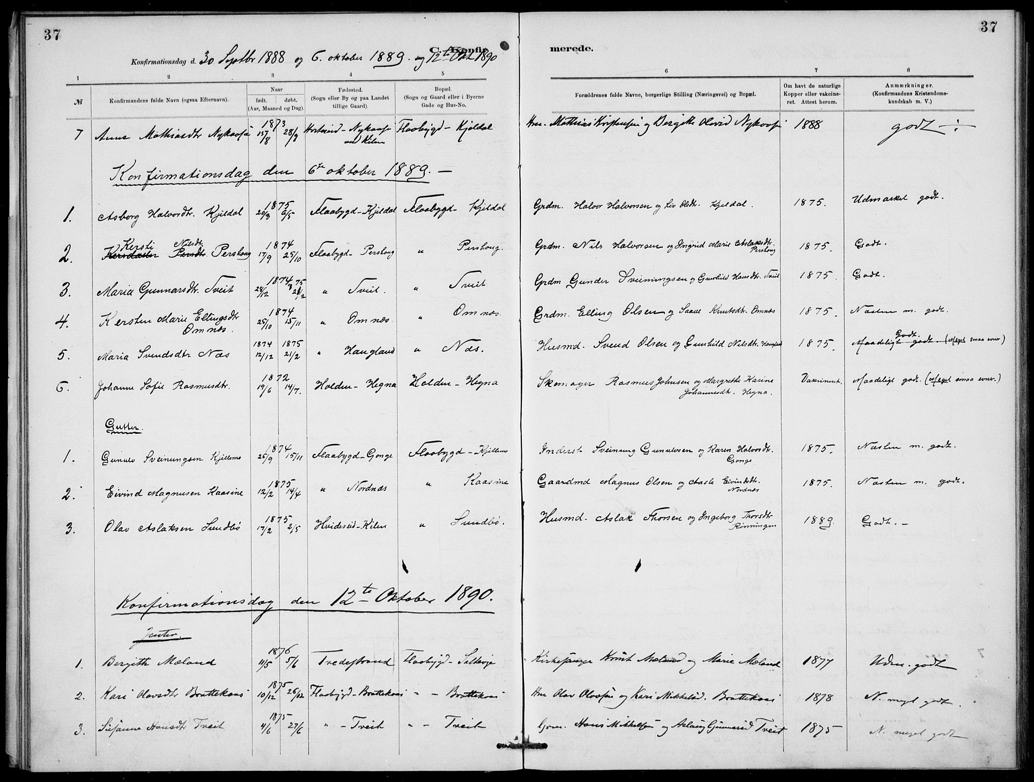 SAKO, Lunde kirkebøker, F/Fb/L0003: Ministerialbok nr. II 3, 1882-1891, s. 37