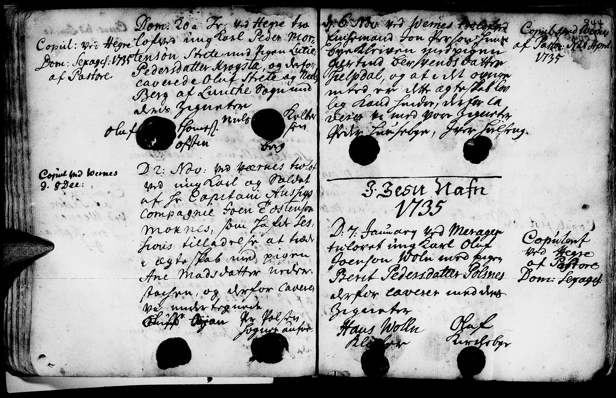 SAT, Ministerialprotokoller, klokkerbøker og fødselsregistre - Nord-Trøndelag, 709/L0055: Ministerialbok nr. 709A03, 1730-1739, s. 843-844
