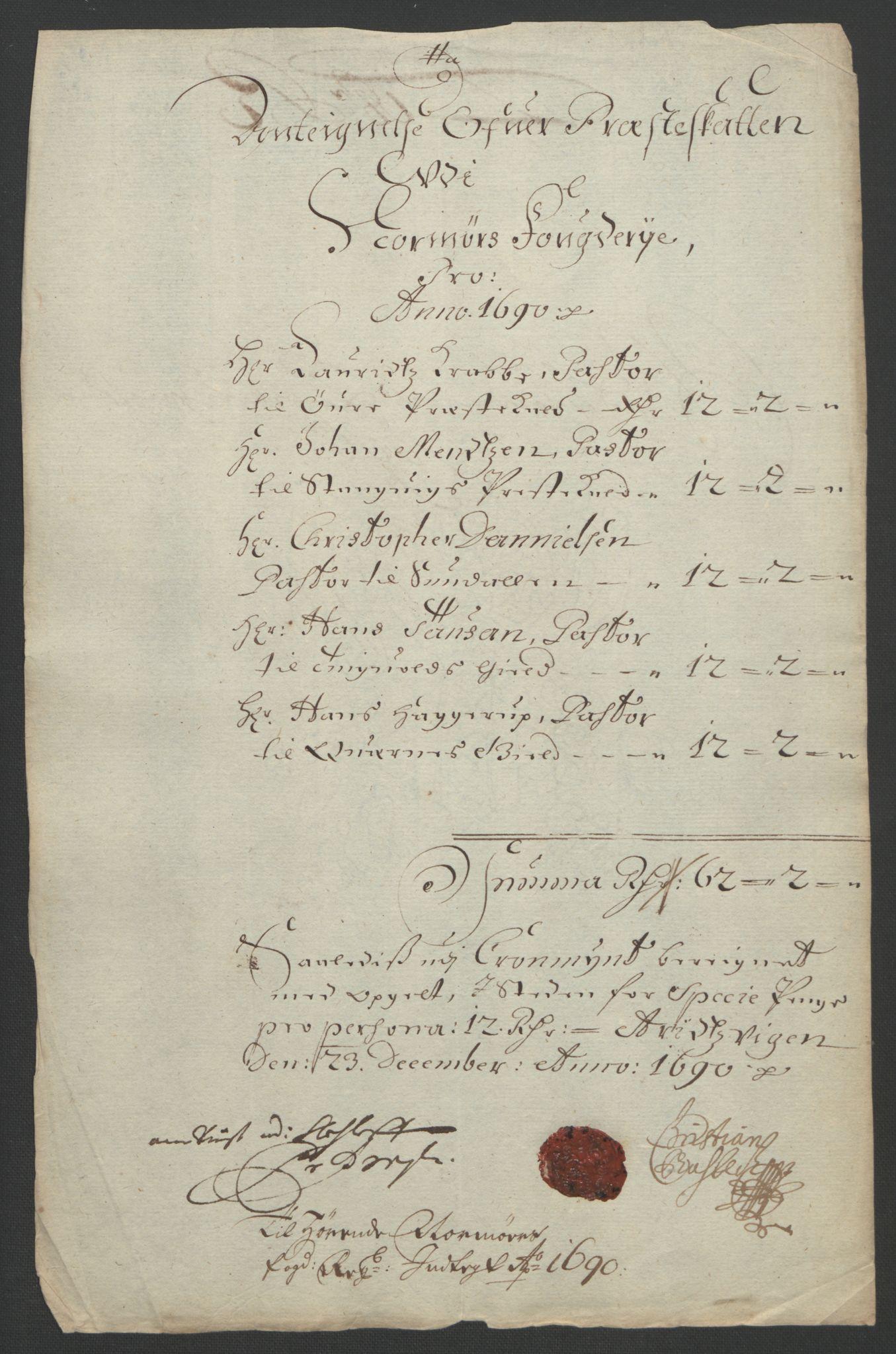 RA, Rentekammeret inntil 1814, Reviderte regnskaper, Fogderegnskap, R56/L3734: Fogderegnskap Nordmøre, 1690-1691, s. 207