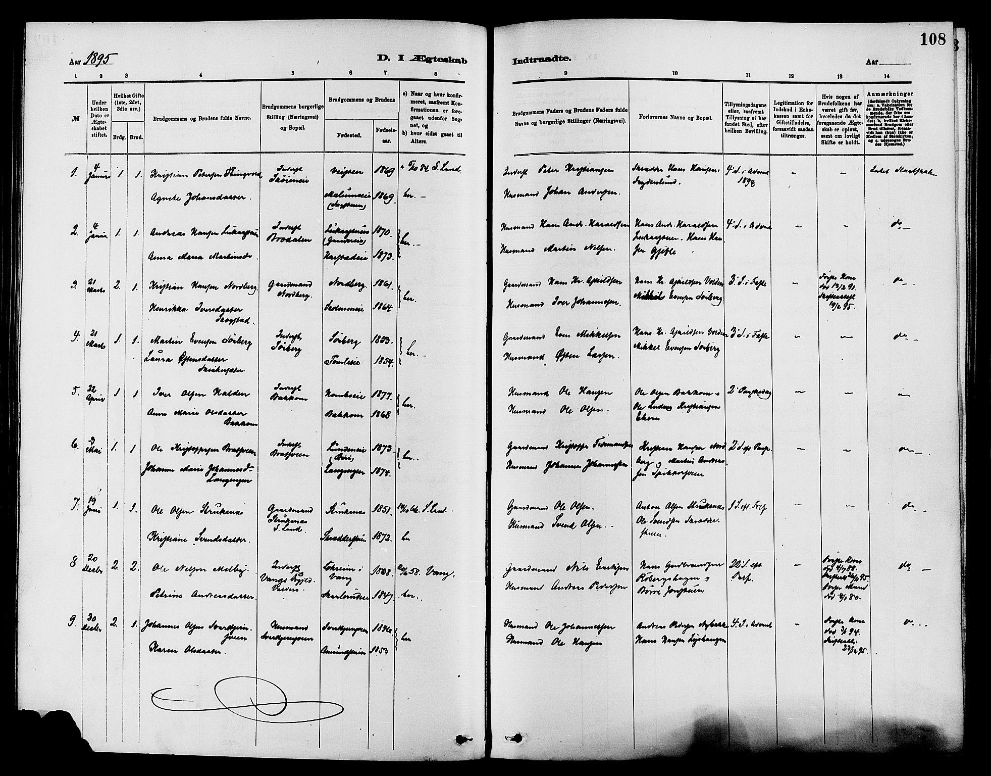 SAH, Nordre Land prestekontor, Ministerialbok nr. 3, 1882-1896, s. 108