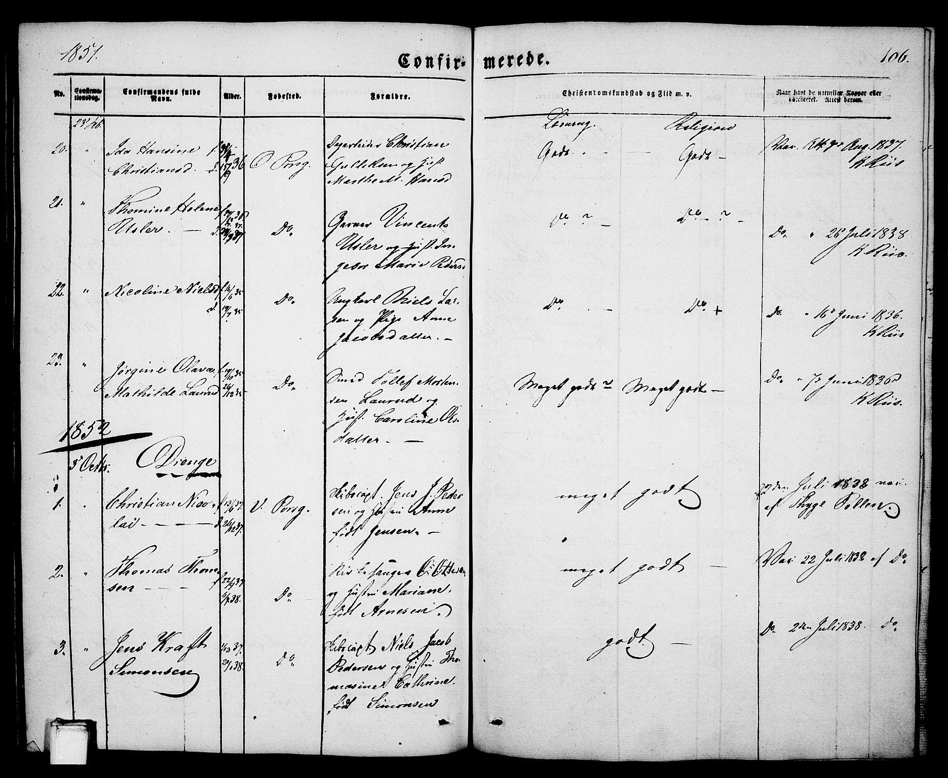 SAKO, Porsgrunn kirkebøker , G/Ga/L0002: Klokkerbok nr. I 2, 1847-1877, s. 106