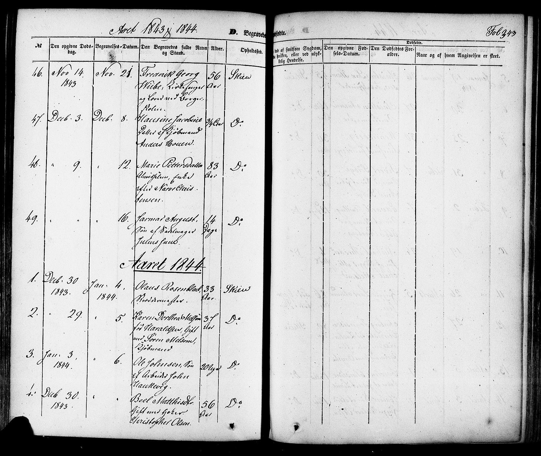 SAKO, Skien kirkebøker, F/Fa/L0006a: Ministerialbok nr. 6A, 1843-1856, s. 343