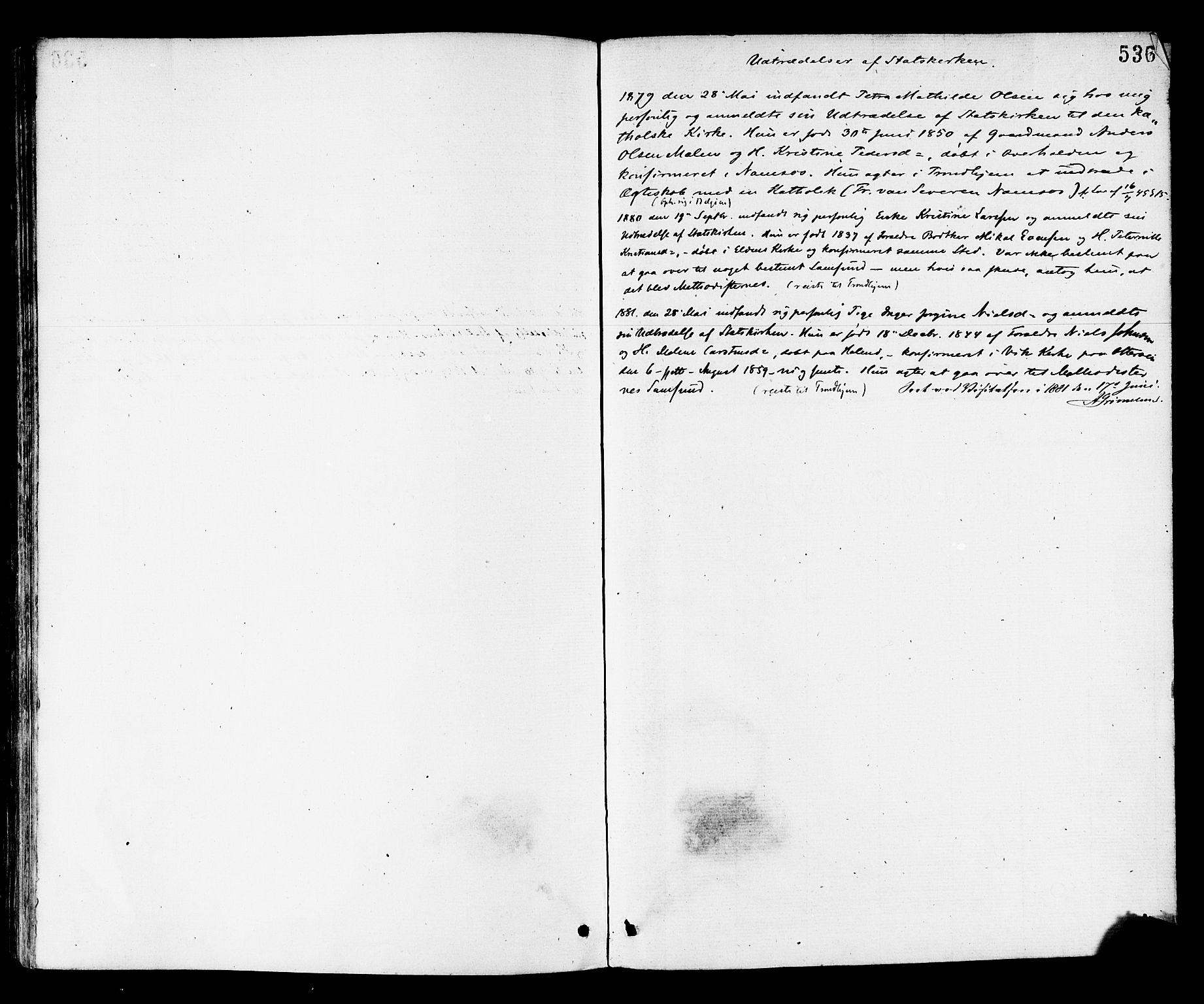 SAT, Ministerialprotokoller, klokkerbøker og fødselsregistre - Nord-Trøndelag, 768/L0572: Ministerialbok nr. 768A07, 1874-1886, s. 536