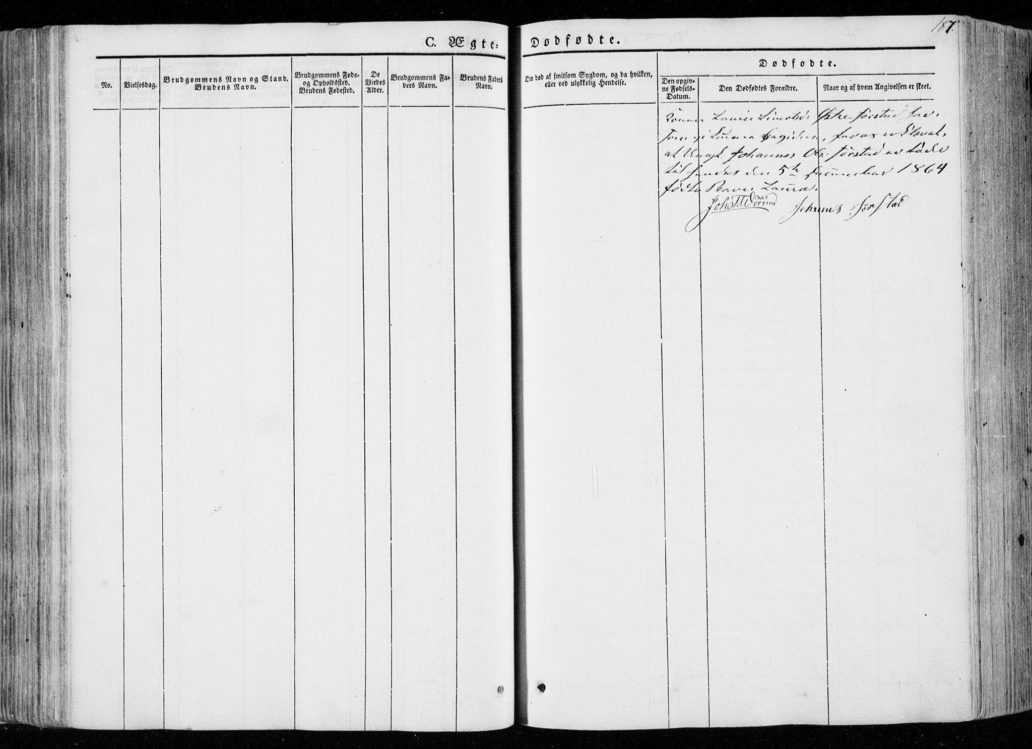 SAT, Ministerialprotokoller, klokkerbøker og fødselsregistre - Nord-Trøndelag, 722/L0218: Ministerialbok nr. 722A05, 1843-1868, s. 187