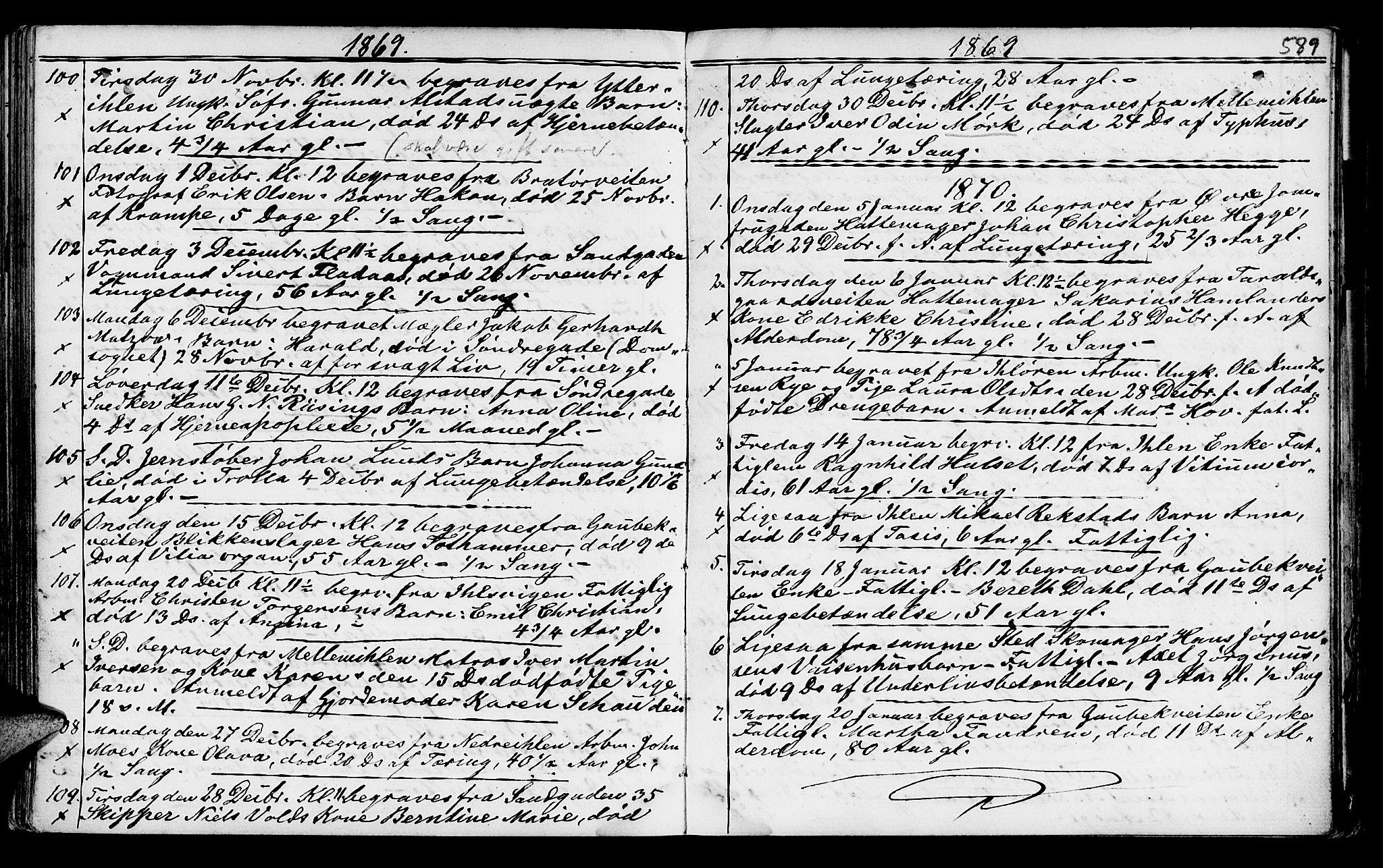 SAT, Ministerialprotokoller, klokkerbøker og fødselsregistre - Sør-Trøndelag, 602/L0140: Klokkerbok nr. 602C08, 1864-1872, s. 588-589