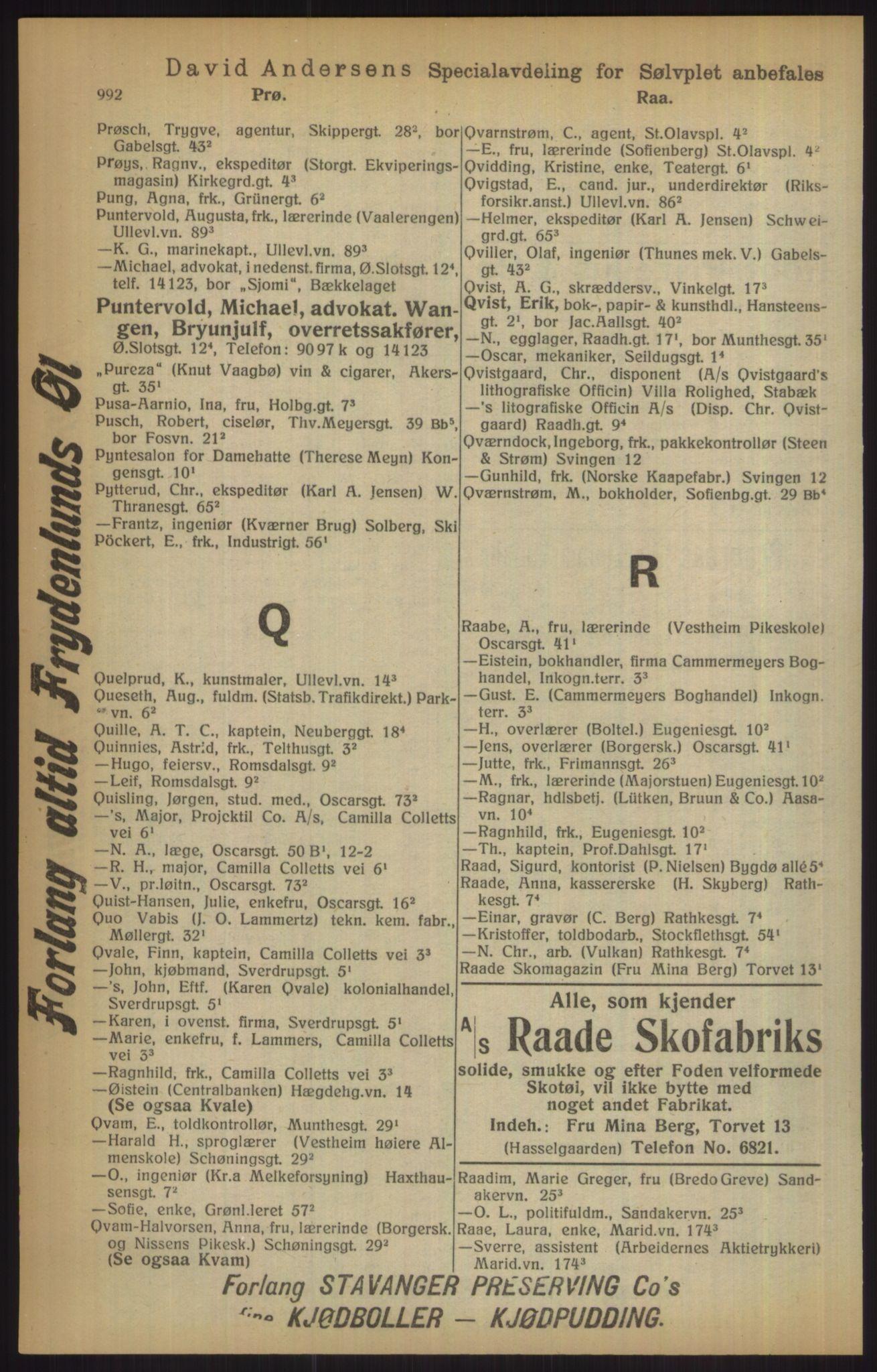 RA, Kristiania adressebok (publikasjon)*, 1915, s. 992