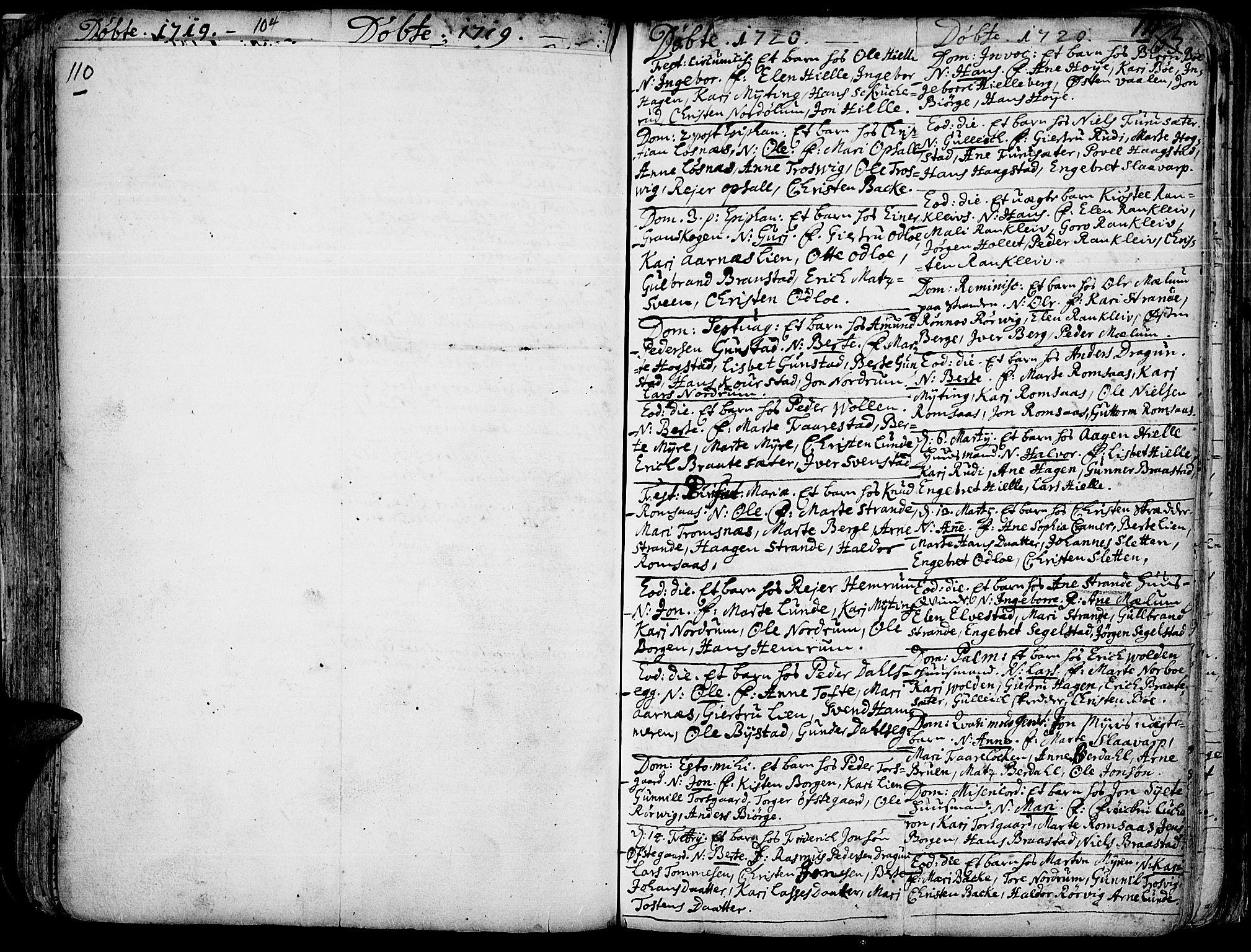 SAH, Ringebu prestekontor, Ministerialbok nr. 1, 1696-1733, s. 110-111