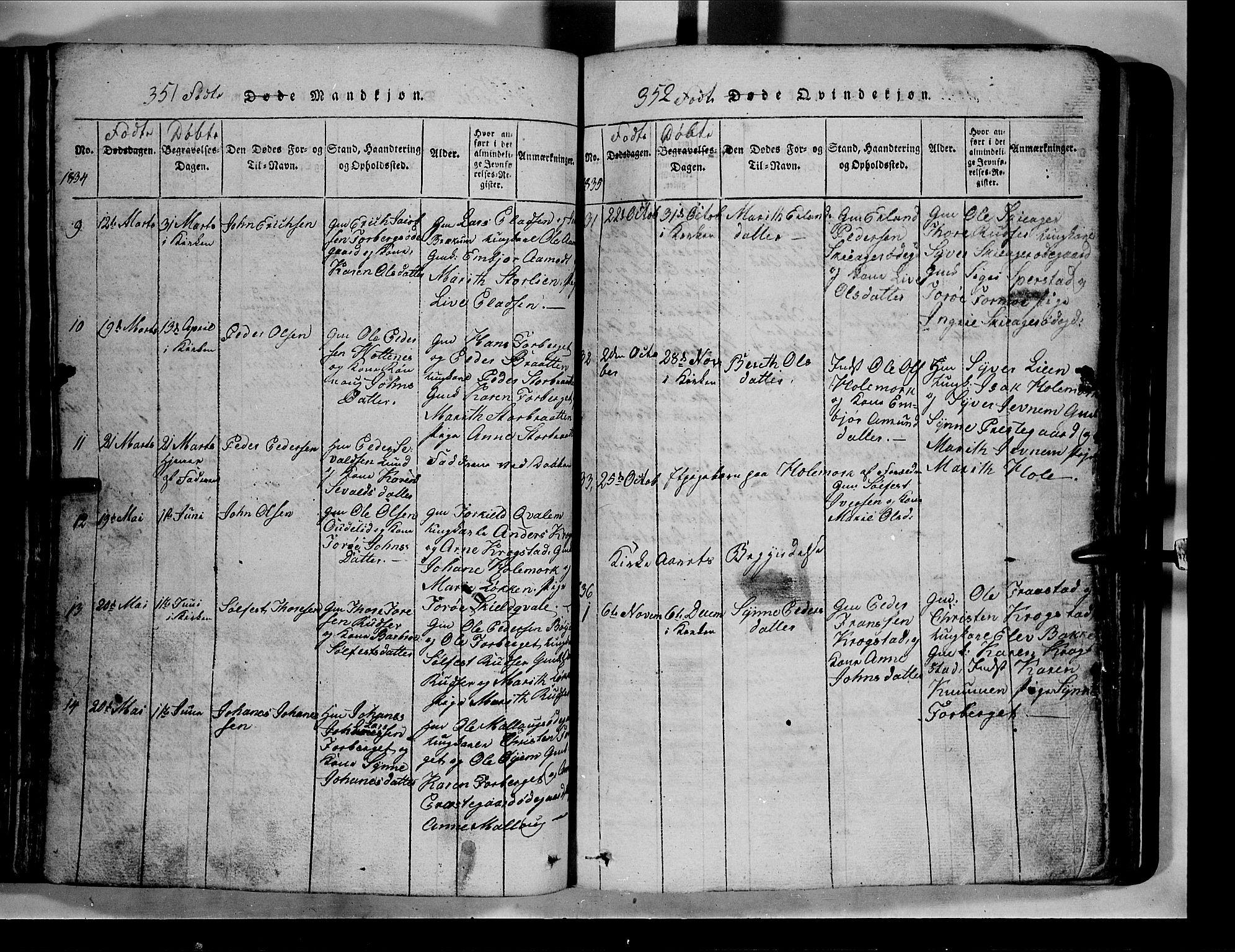 SAH, Lom prestekontor, L/L0003: Klokkerbok nr. 3, 1815-1844, s. 351-352