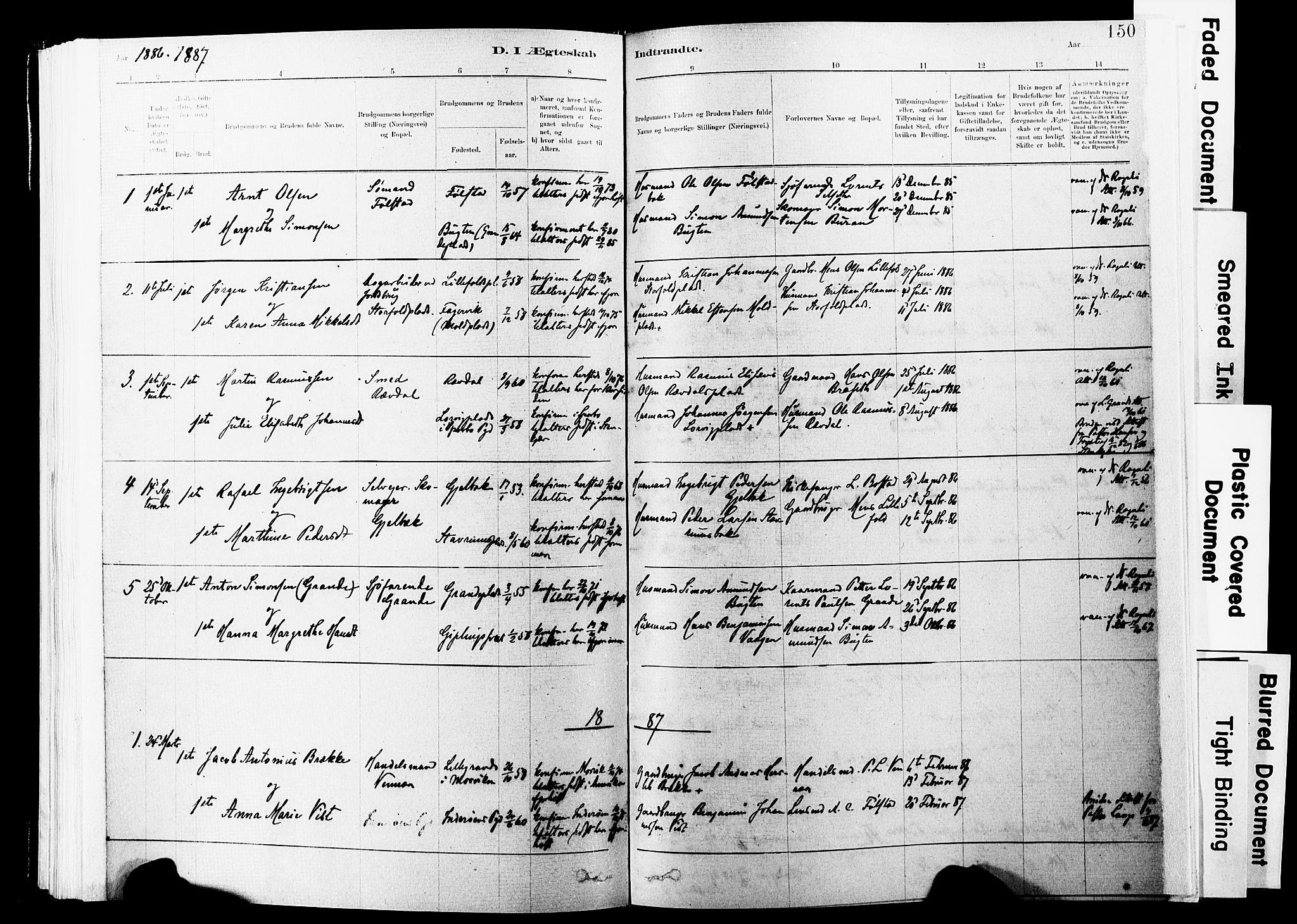 SAT, Ministerialprotokoller, klokkerbøker og fødselsregistre - Nord-Trøndelag, 744/L0420: Ministerialbok nr. 744A04, 1882-1904, s. 150