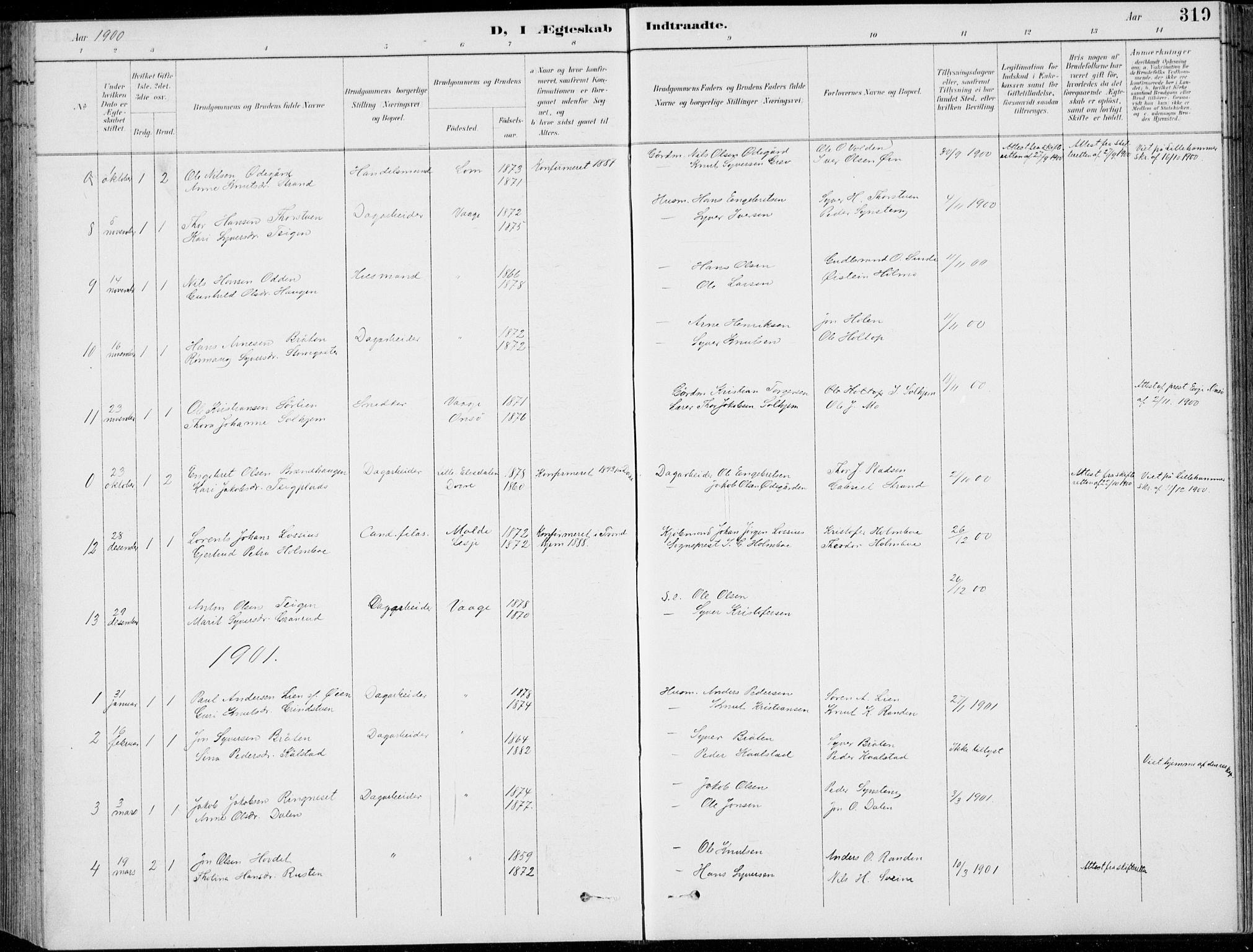 SAH, Vågå prestekontor, Klokkerbok nr. 2, 1894-1939, s. 319