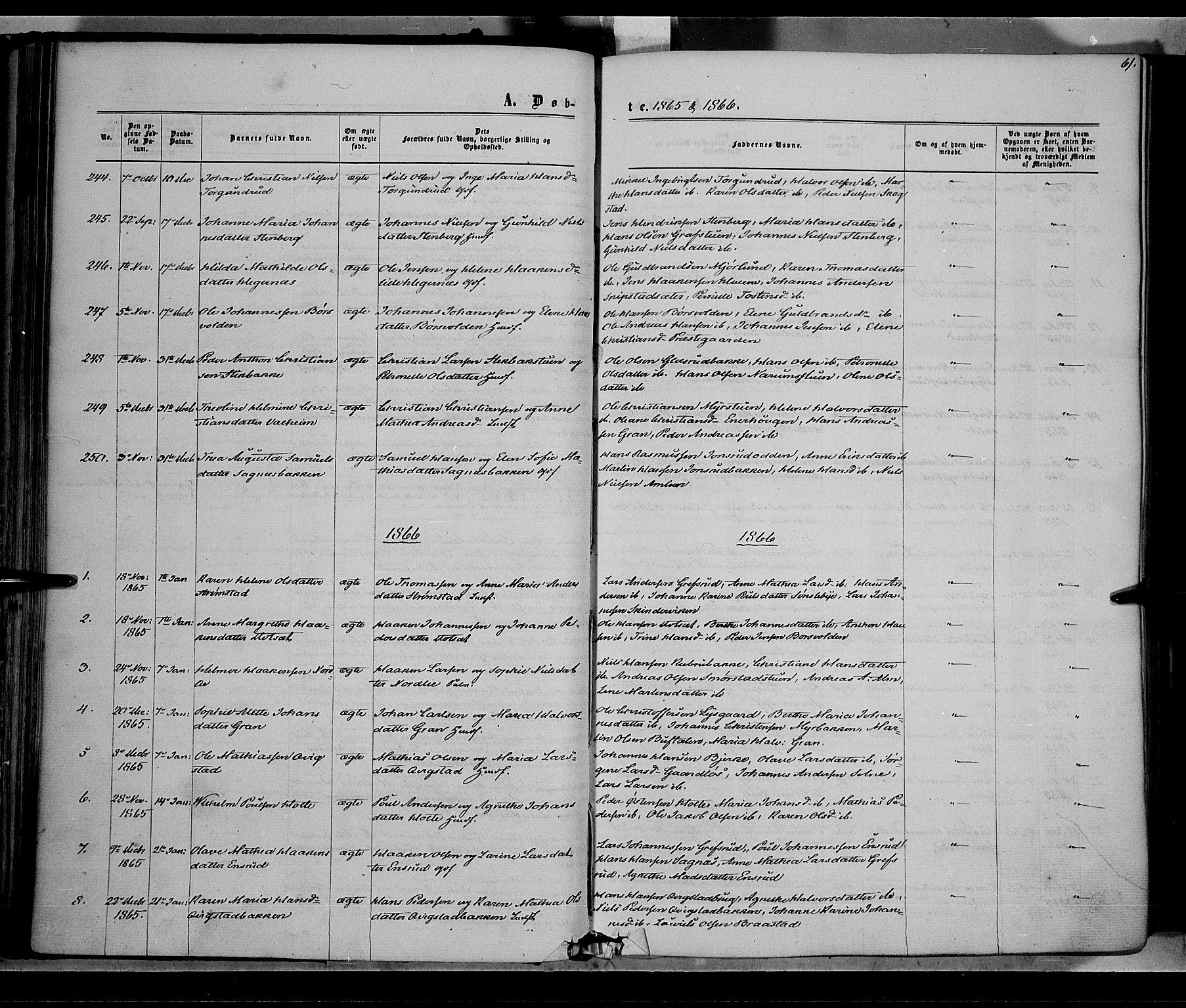 SAH, Vestre Toten prestekontor, H/Ha/Haa/L0007: Ministerialbok nr. 7, 1862-1869, s. 61