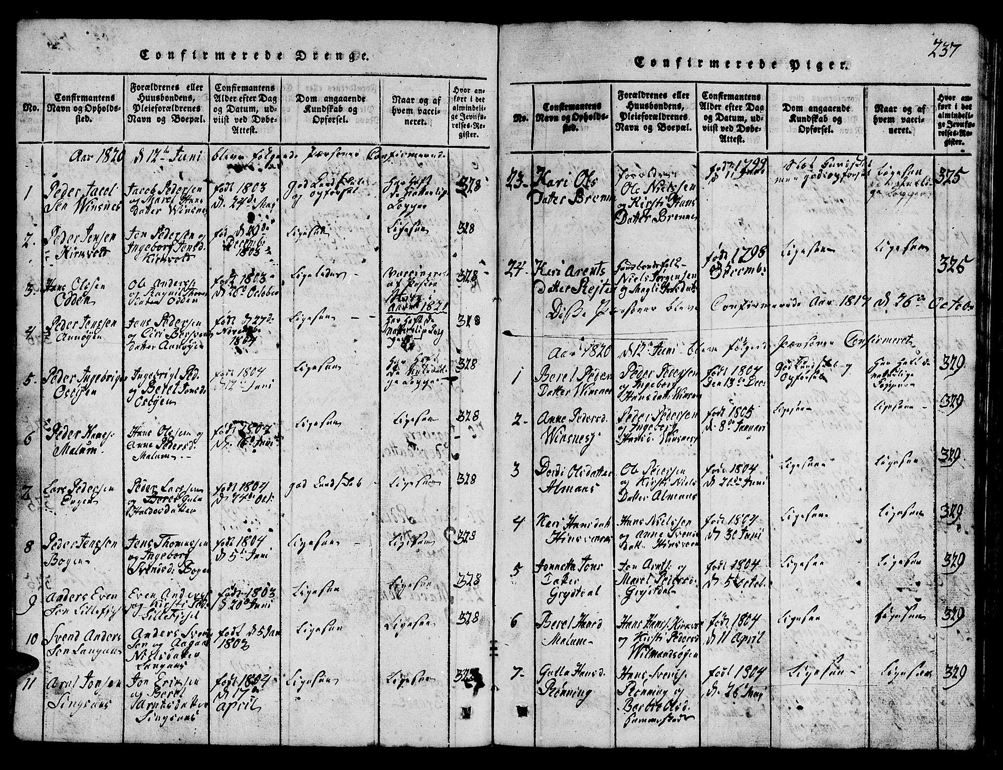 SAT, Ministerialprotokoller, klokkerbøker og fødselsregistre - Sør-Trøndelag, 688/L1026: Klokkerbok nr. 688C01, 1817-1860, s. 237