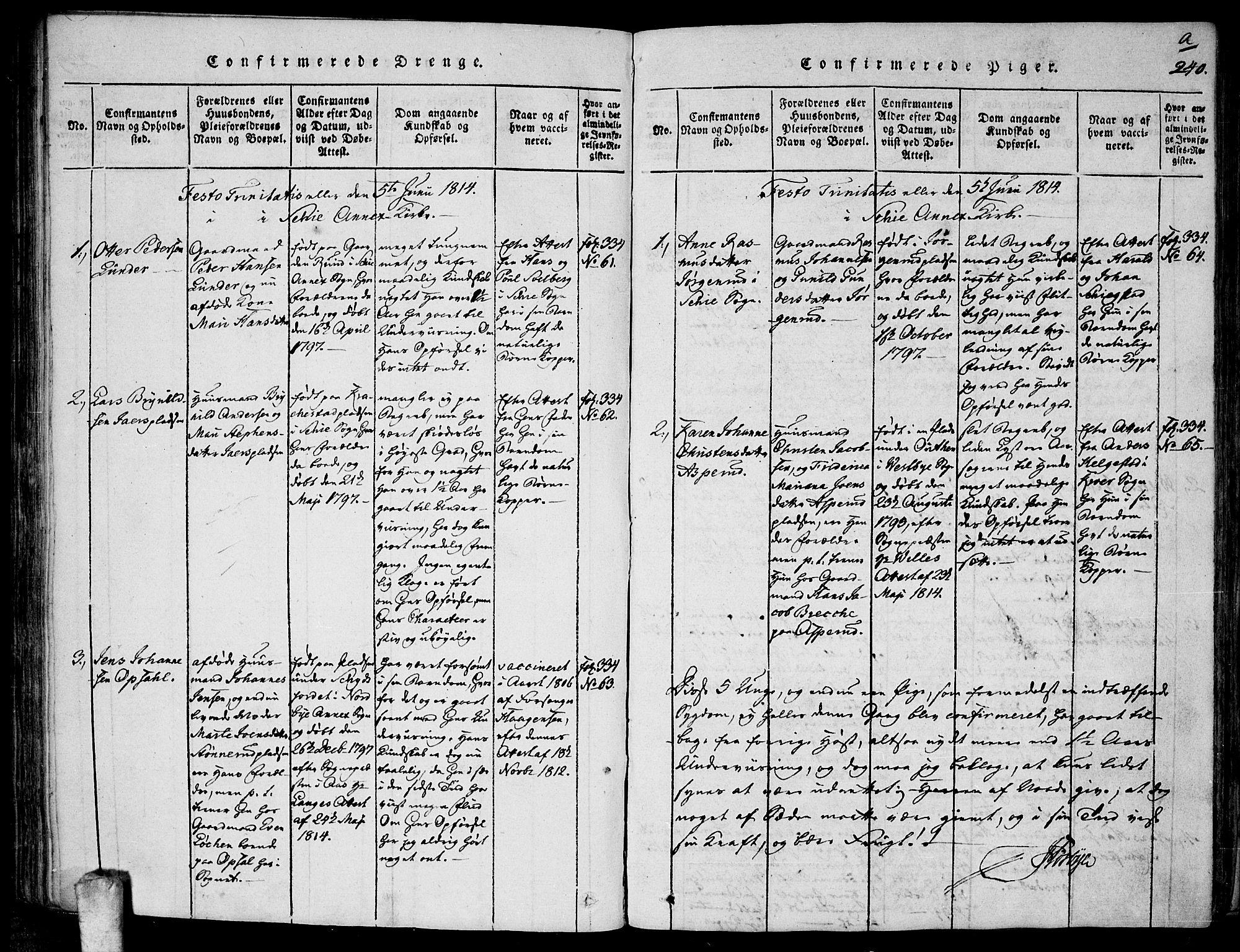 SAO, Kråkstad prestekontor Kirkebøker, F/Fa/L0003: Ministerialbok nr. I 3, 1813-1824, s. 240a