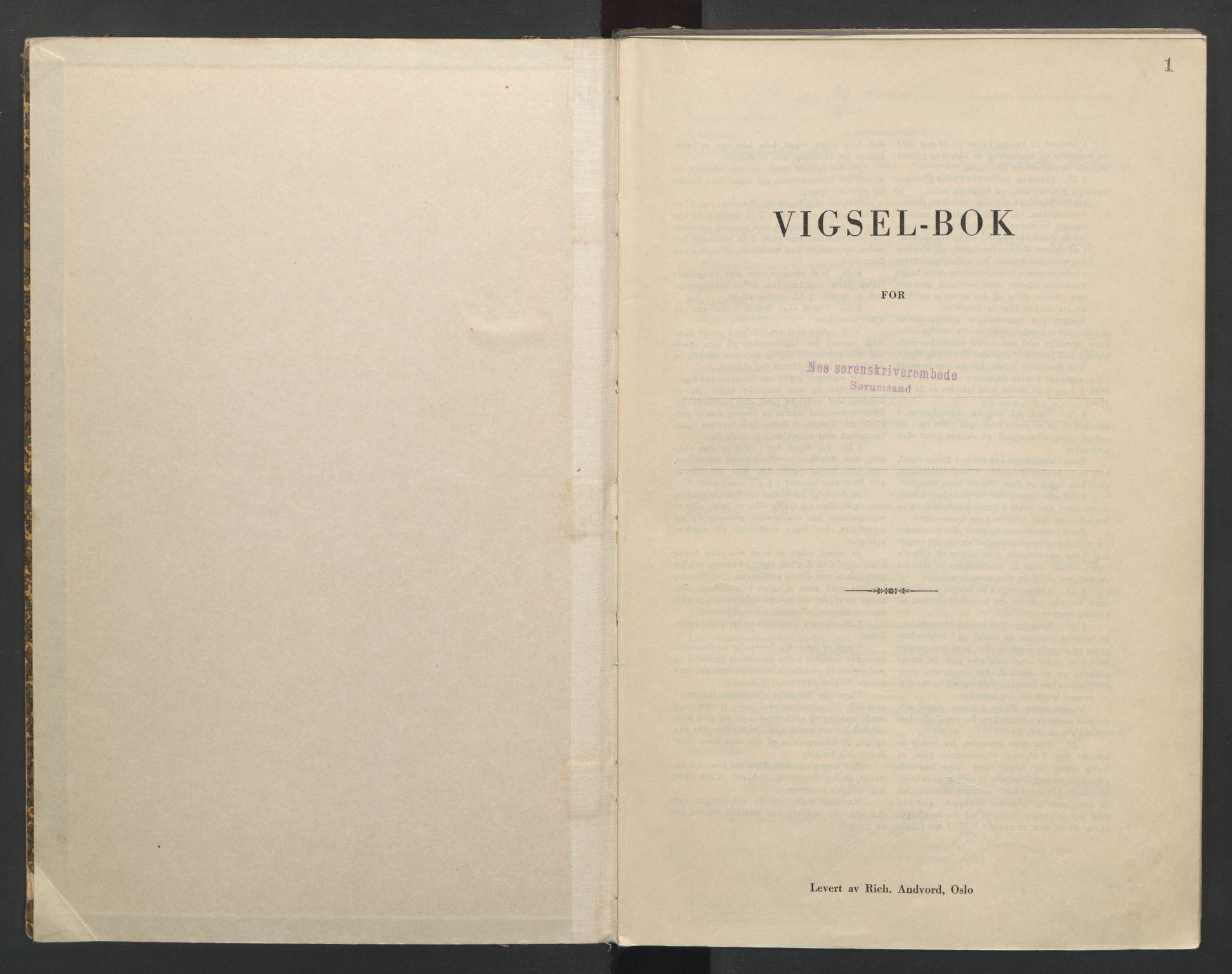 SAO, Nes tingrett, L/Lc/Lca/L0002: Vigselbok, 1943-1944, s. 1