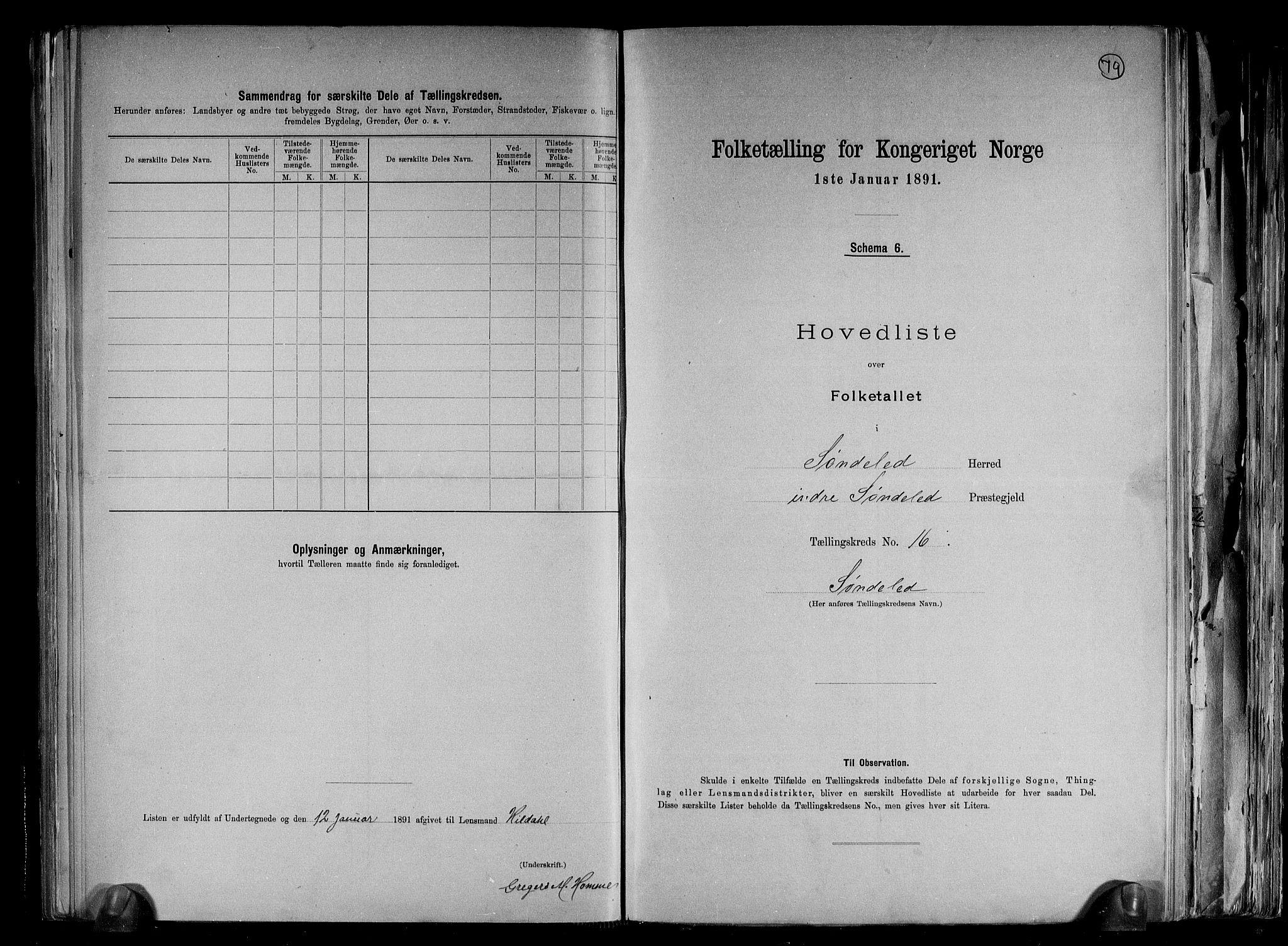 RA, Folketelling 1891 for 0913 Søndeled herred, 1891, s. 35
