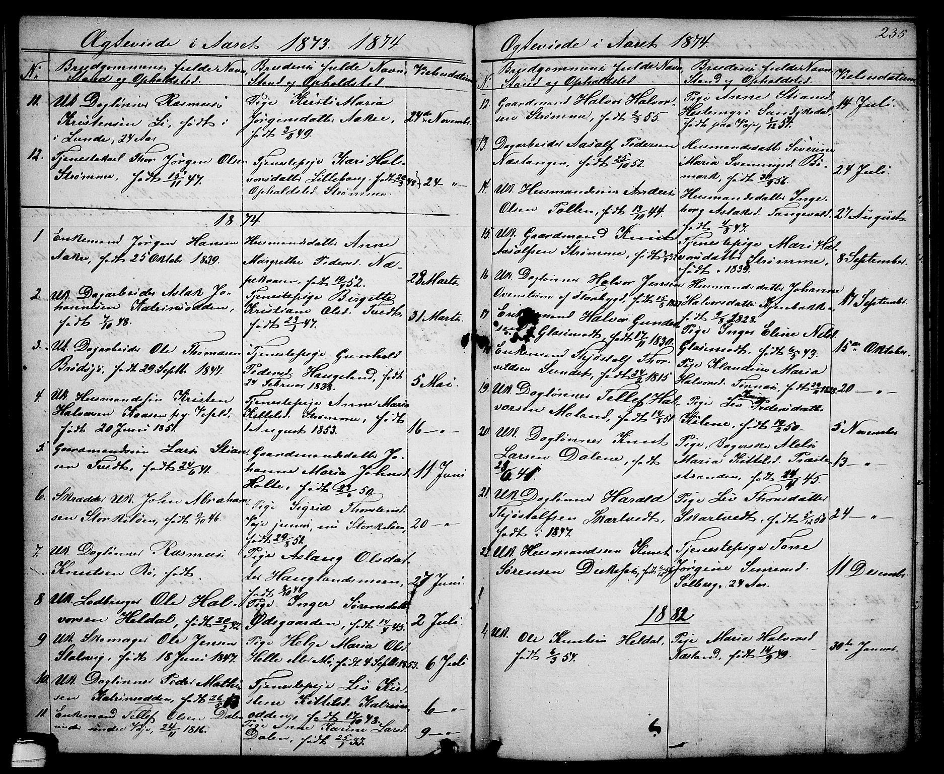 SAKO, Drangedal kirkebøker, G/Ga/L0002: Klokkerbok nr. I 2, 1856-1887, s. 235