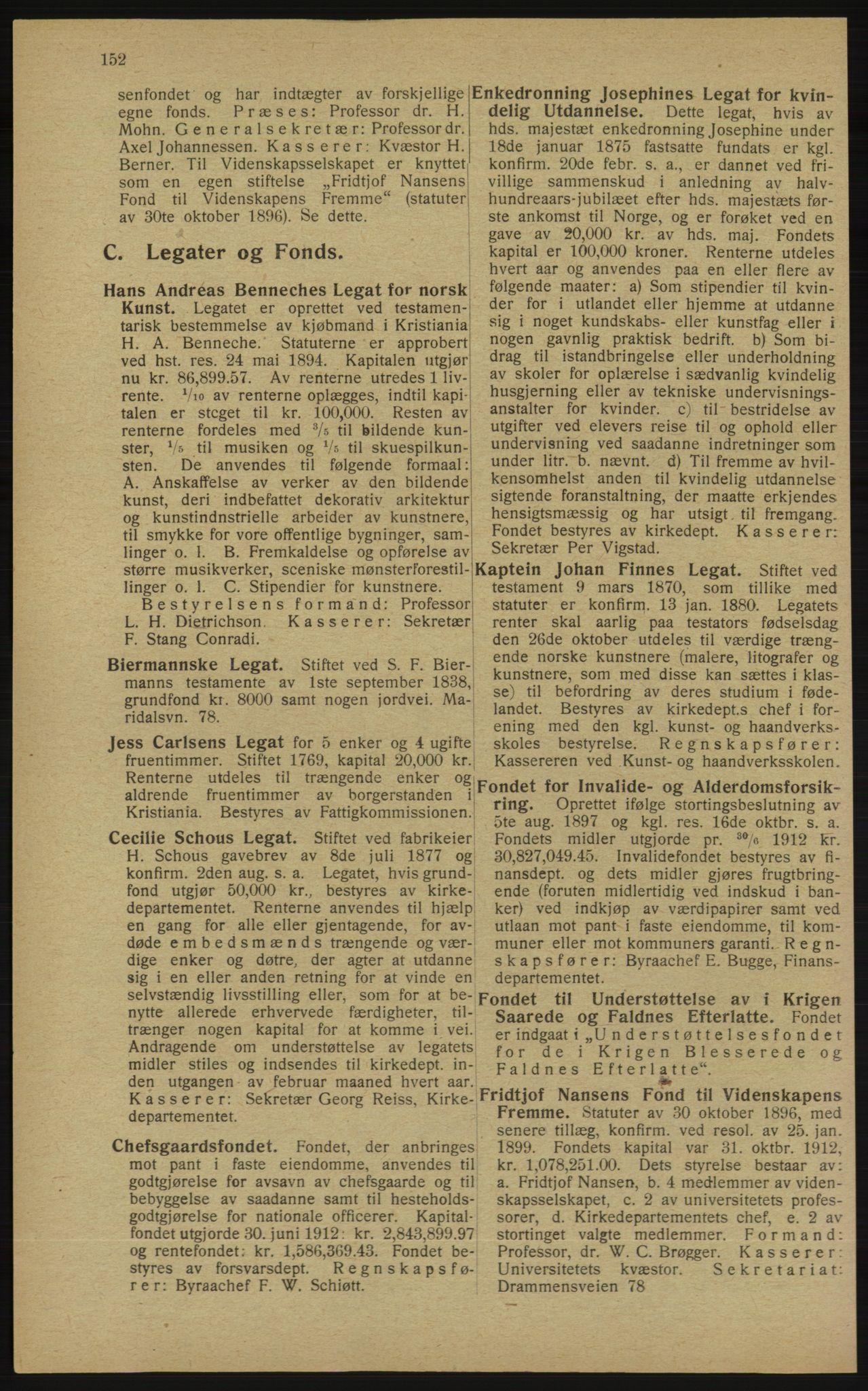 RA, Kristiania adressebok (publikasjon)*, 1913, s. 152