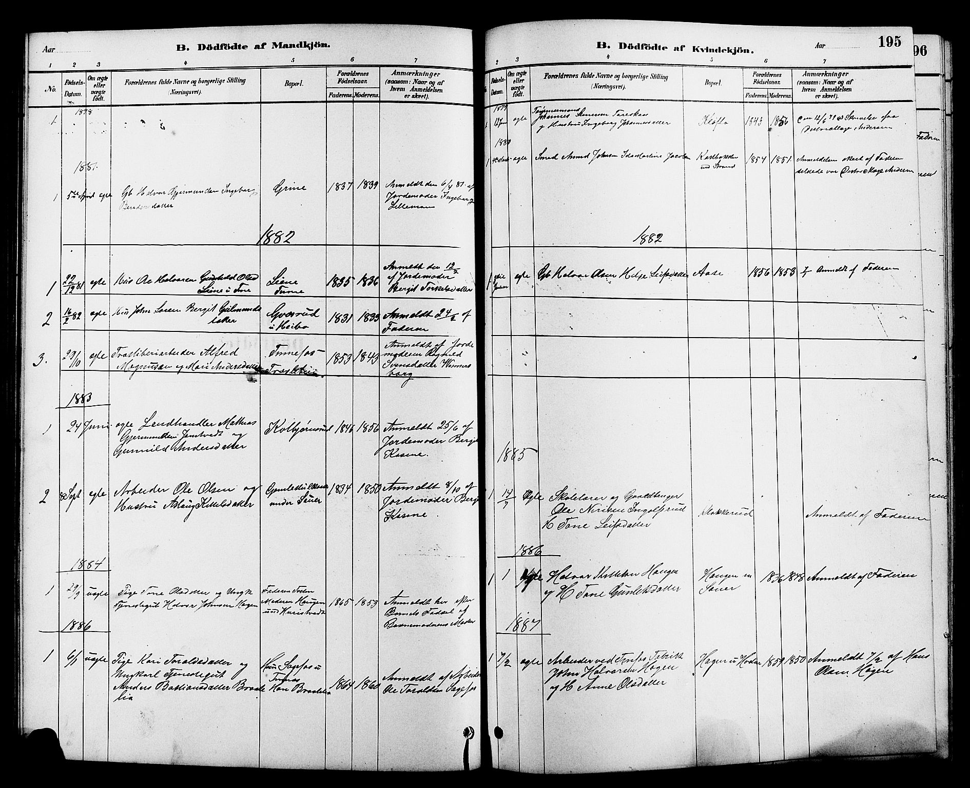 SAKO, Heddal kirkebøker, G/Ga/L0002: Klokkerbok nr. I 2, 1879-1908, s. 195