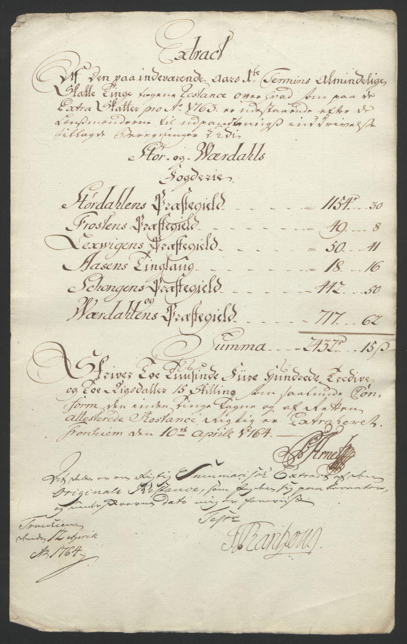 RA, Rentekammeret inntil 1814, Reviderte regnskaper, Fogderegnskap, R62/L4303: Ekstraskatten Stjørdal og Verdal, 1762-1763, s. 418
