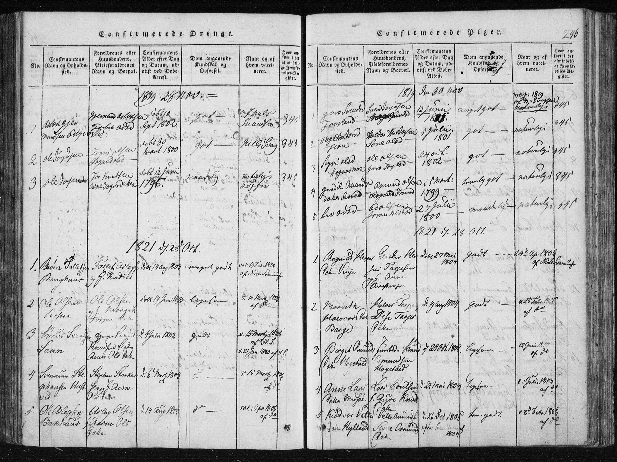 SAKO, Vinje kirkebøker, F/Fa/L0003: Ministerialbok nr. I 3, 1814-1843, s. 246