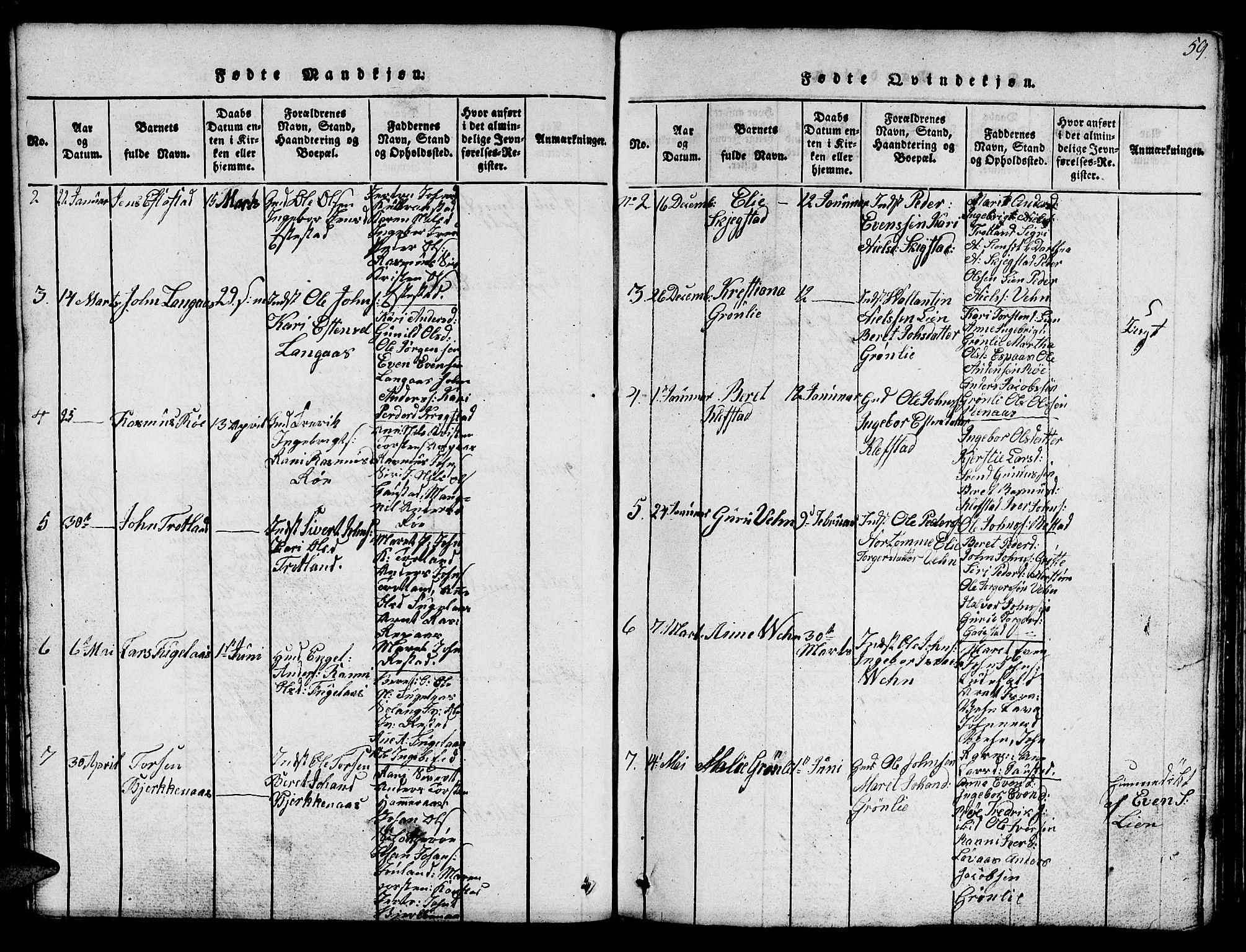 SAT, Ministerialprotokoller, klokkerbøker og fødselsregistre - Sør-Trøndelag, 694/L1130: Klokkerbok nr. 694C02, 1816-1857, s. 59