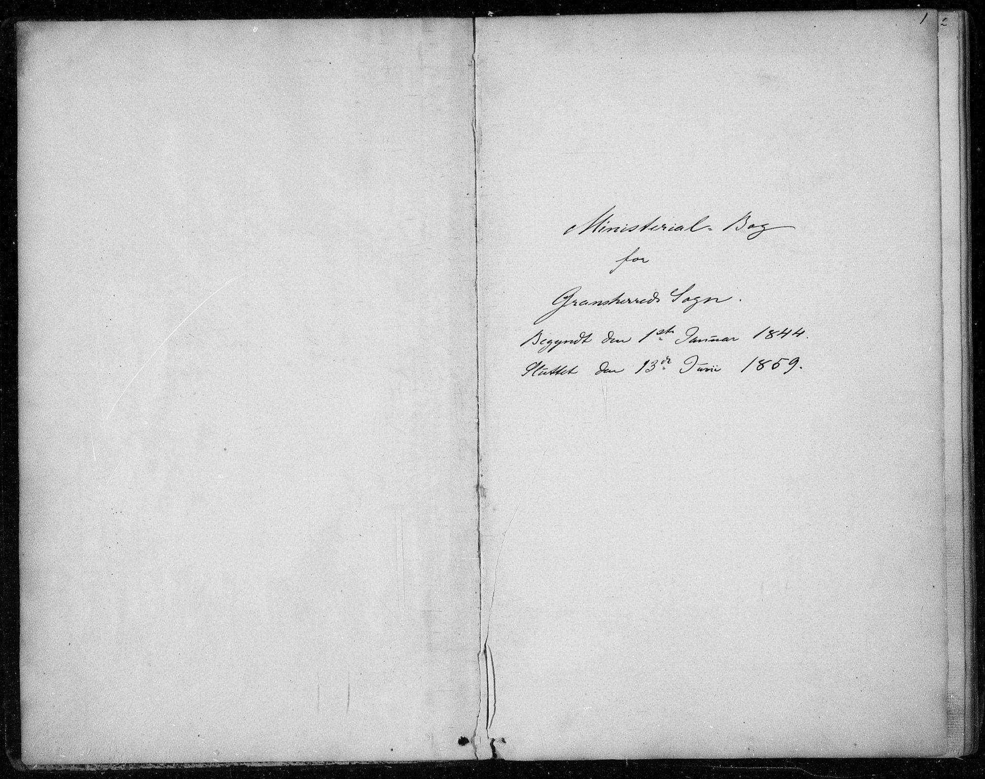 SAKO, Gransherad kirkebøker, F/Fa/L0002: Ministerialbok nr. I 2, 1844-1859, s. 1