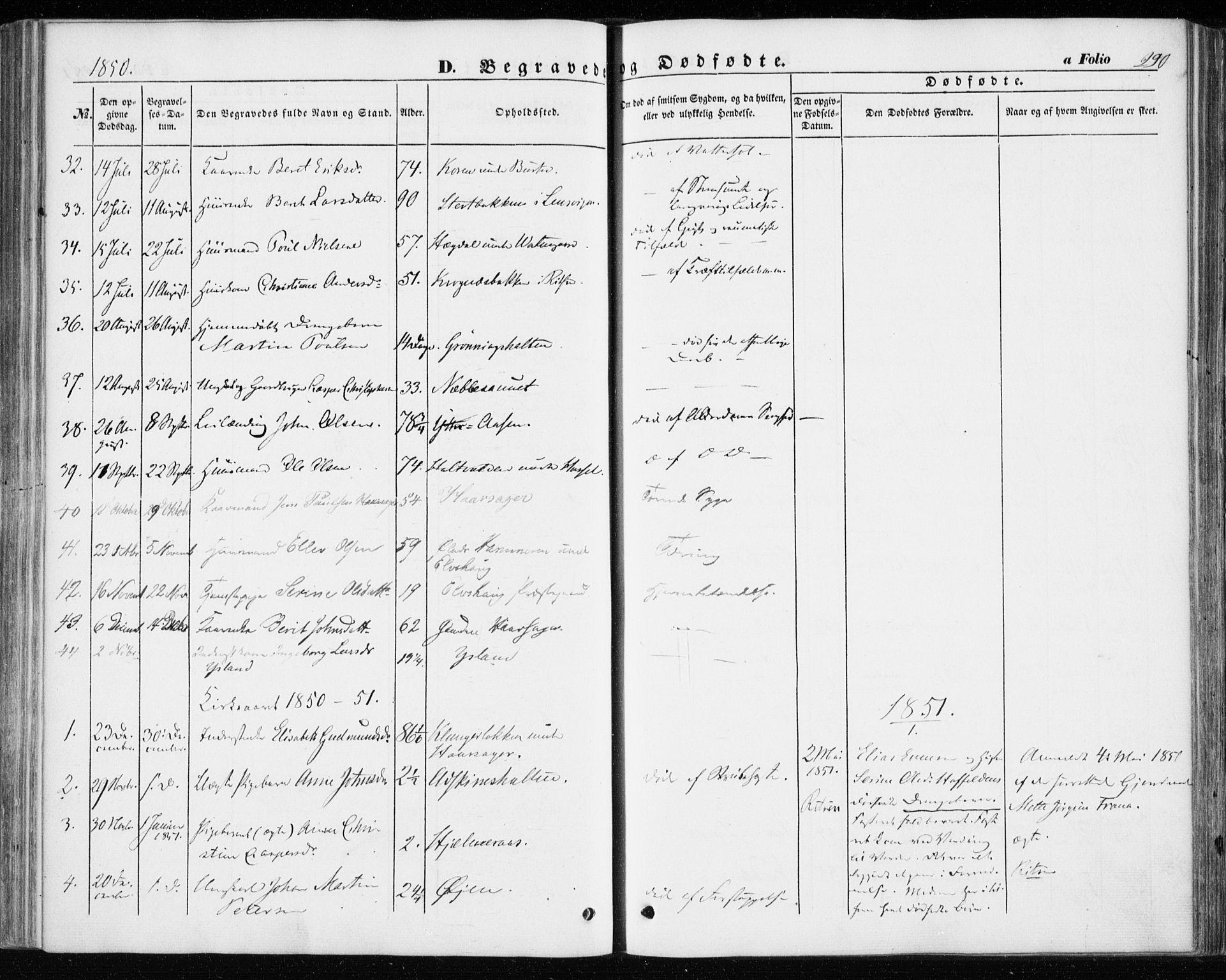 SAT, Ministerialprotokoller, klokkerbøker og fødselsregistre - Sør-Trøndelag, 646/L0611: Ministerialbok nr. 646A09, 1848-1857, s. 290