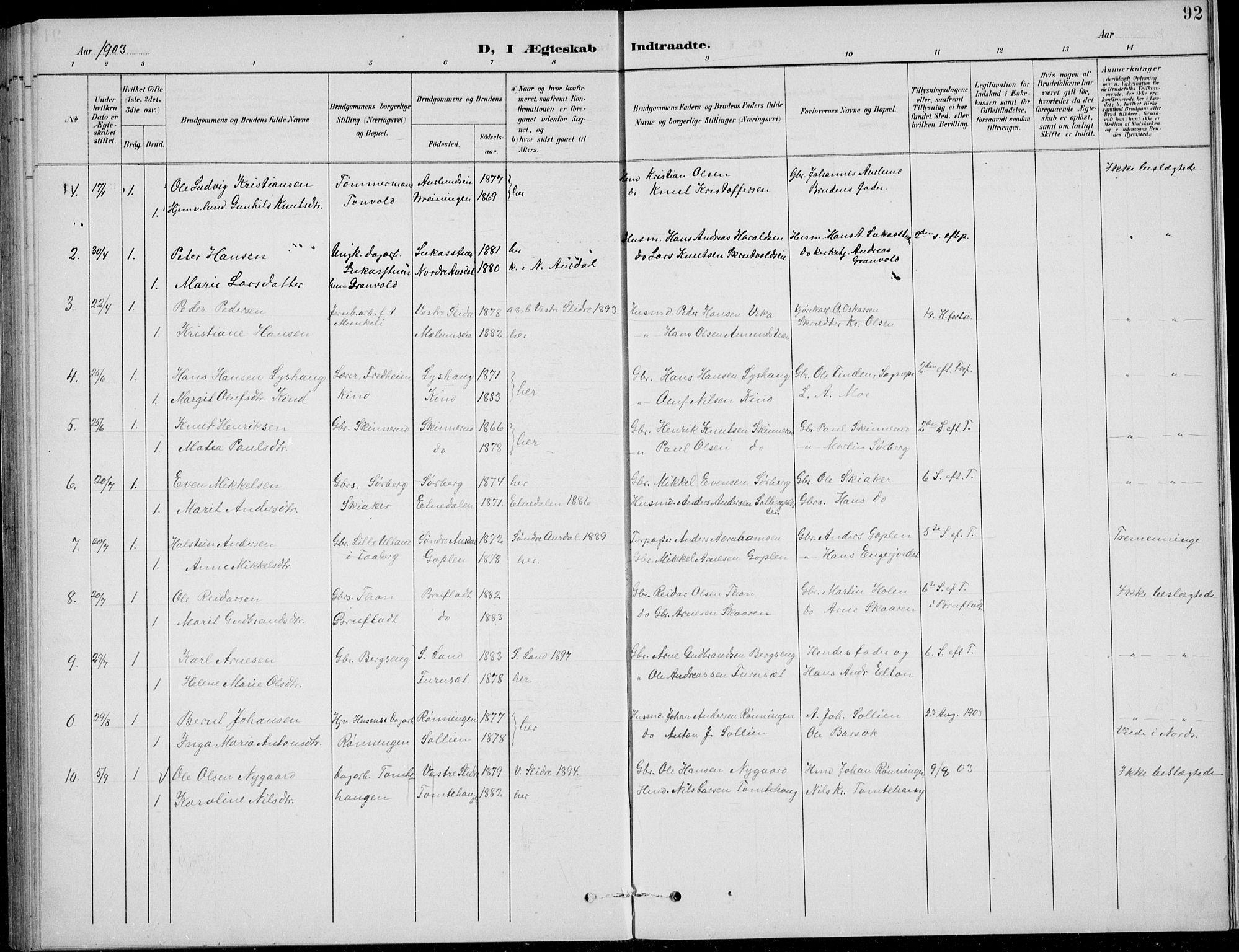 SAH, Nordre Land prestekontor, Klokkerbok nr. 14, 1891-1907, s. 92