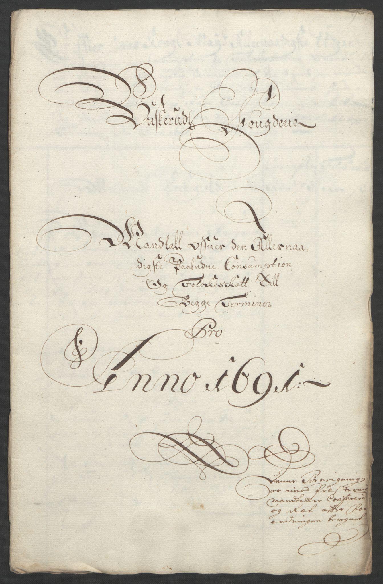 RA, Rentekammeret inntil 1814, Reviderte regnskaper, Fogderegnskap, R25/L1681: Fogderegnskap Buskerud, 1691-1692, s. 241