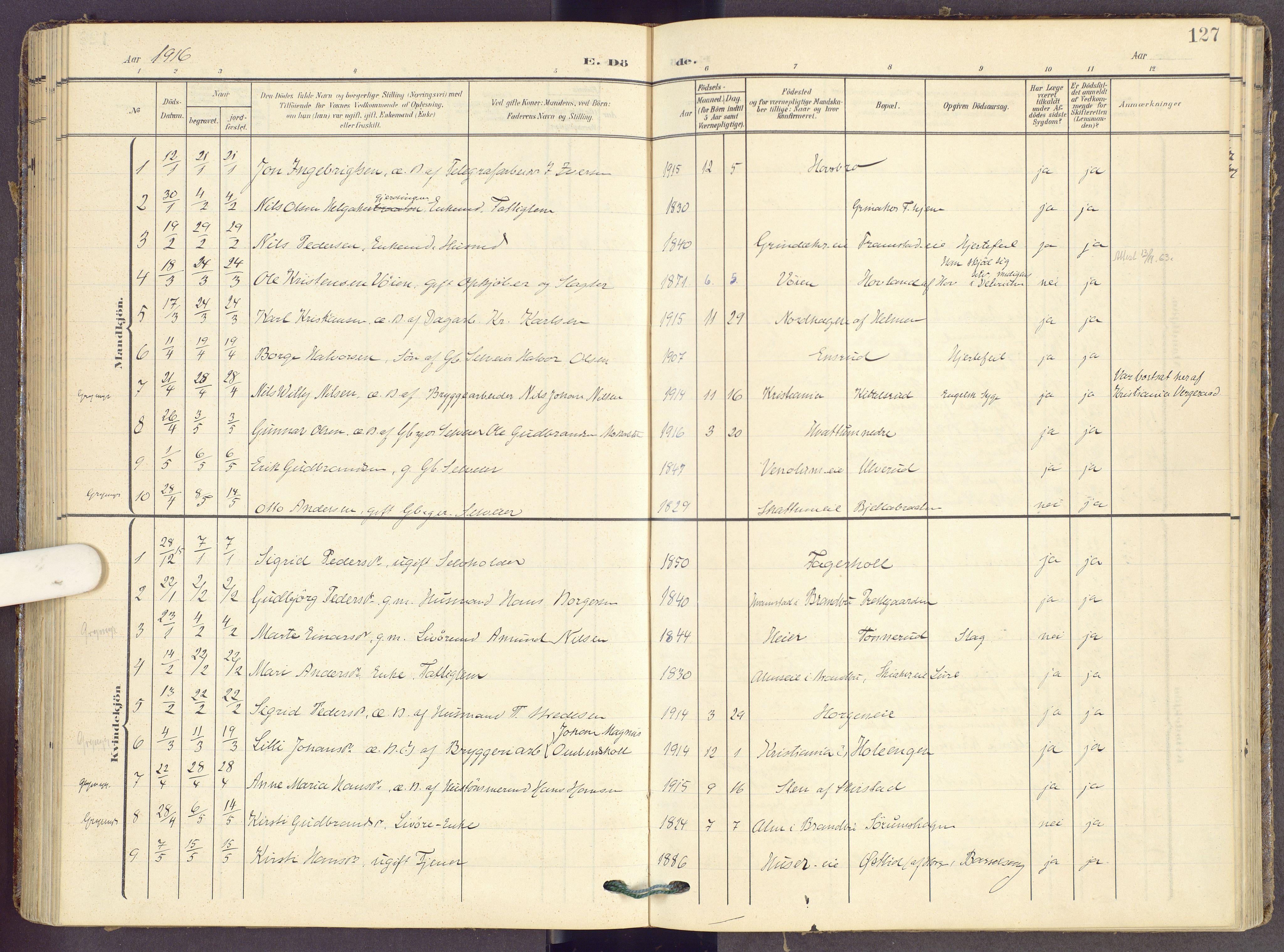 SAH, Gran prestekontor, Ministerialbok nr. 22, 1908-1918, s. 127