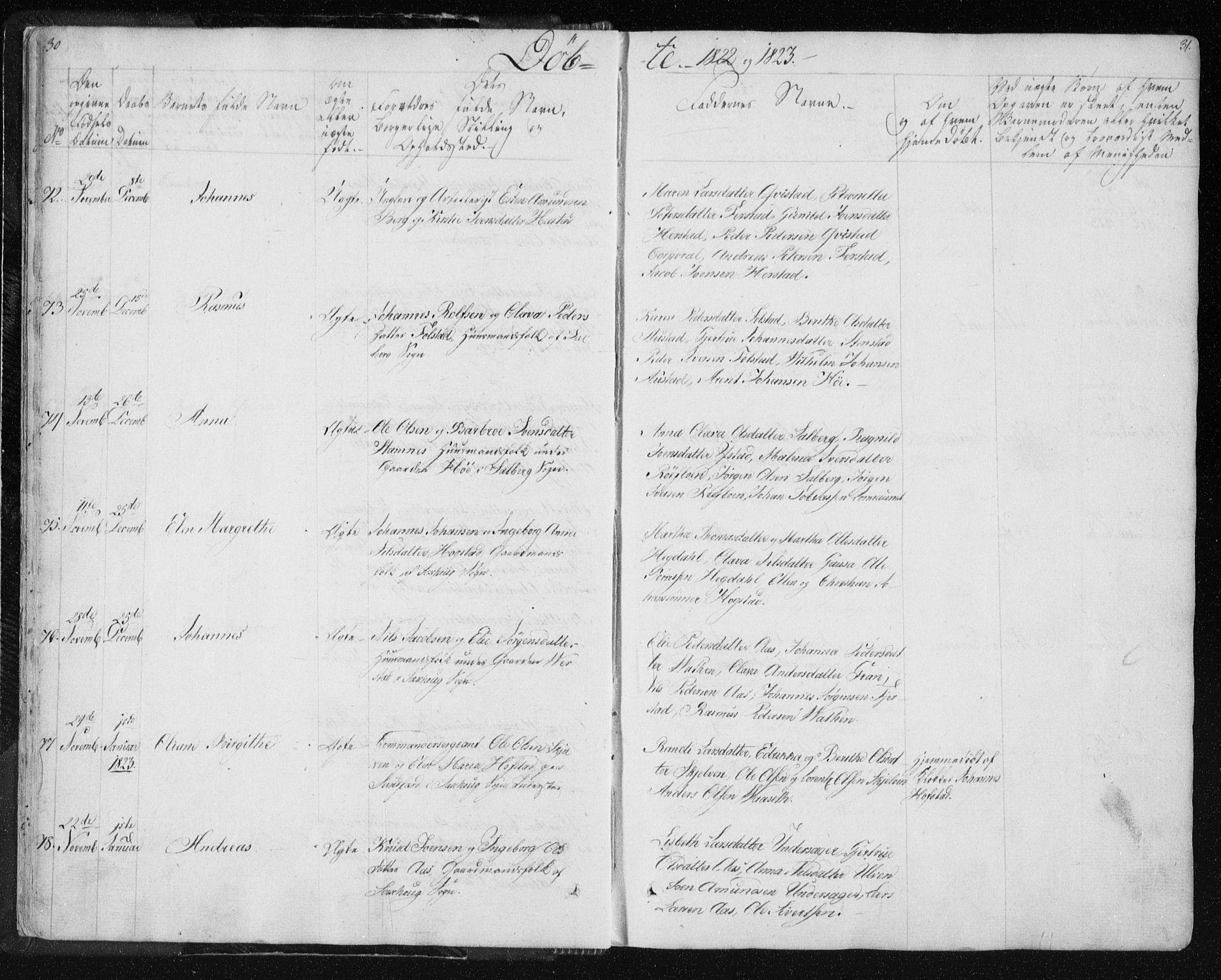 SAT, Ministerialprotokoller, klokkerbøker og fødselsregistre - Nord-Trøndelag, 730/L0276: Ministerialbok nr. 730A05, 1822-1830, s. 30-31
