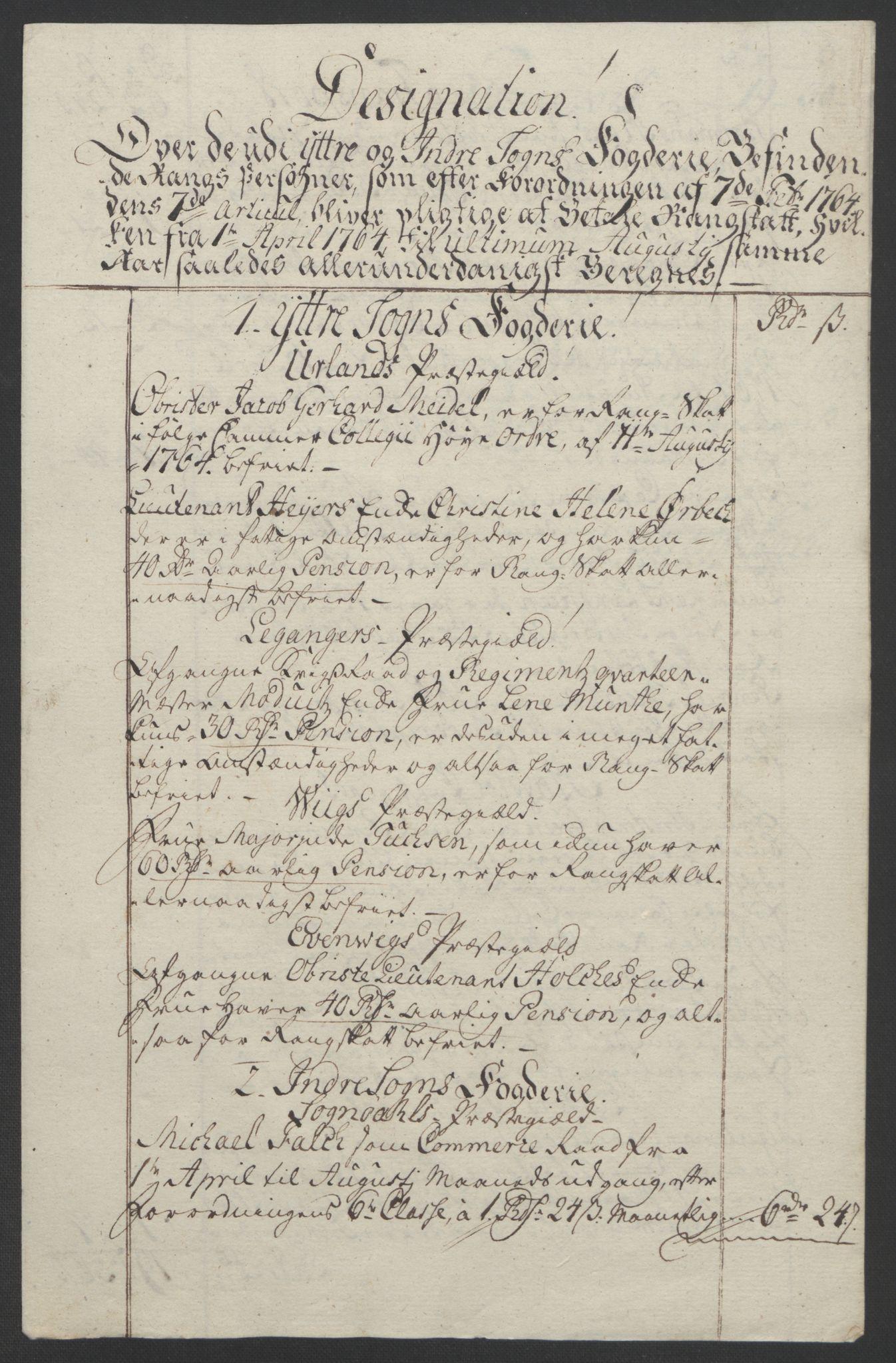 RA, Rentekammeret inntil 1814, Realistisk ordnet avdeling, Ol/L0018: [Gg 10]: Ekstraskatten, 23.09.1762. Sogn, 1762-1772, s. 104