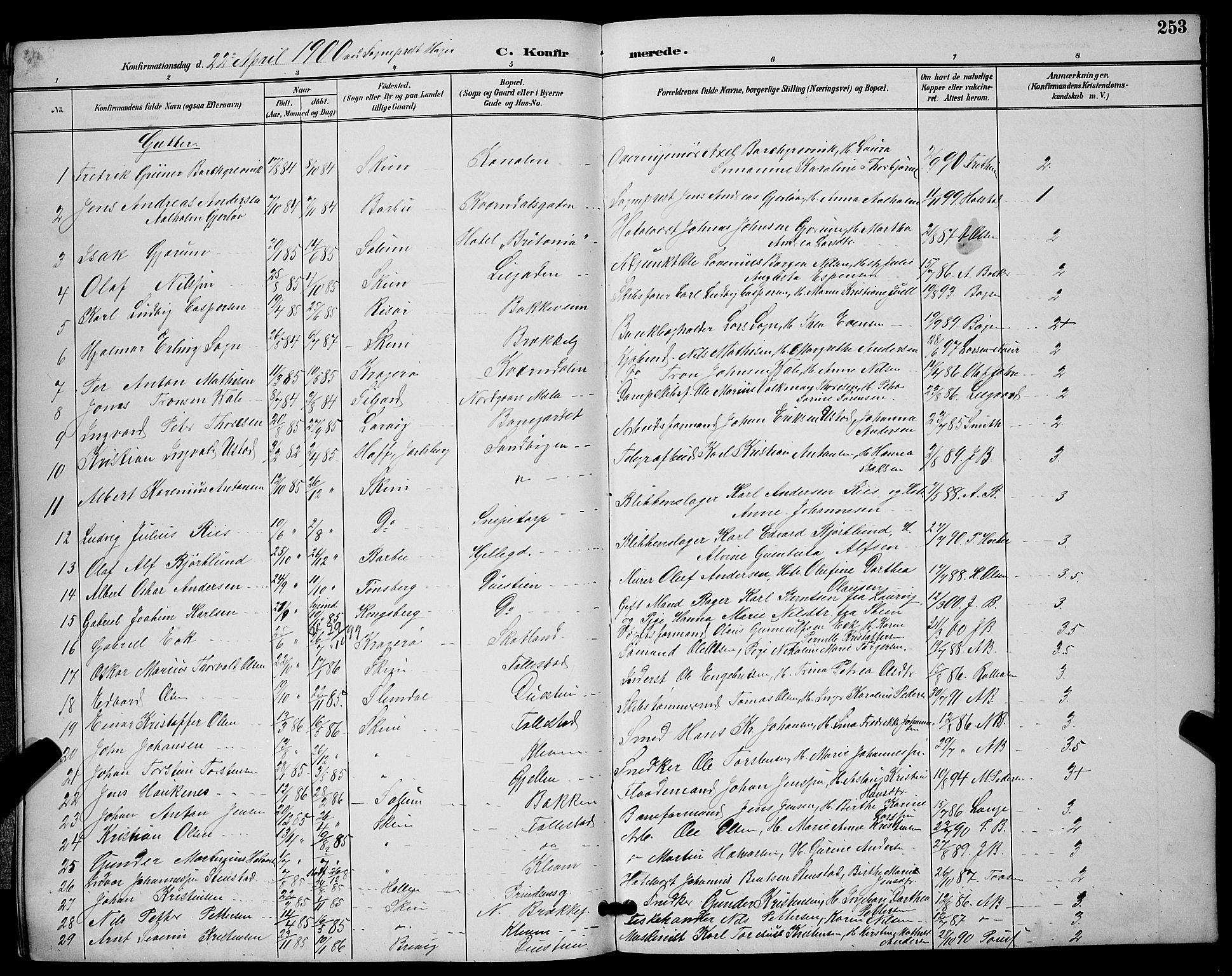 SAKO, Skien kirkebøker, G/Ga/L0007: Klokkerbok nr. 7, 1891-1900, s. 253
