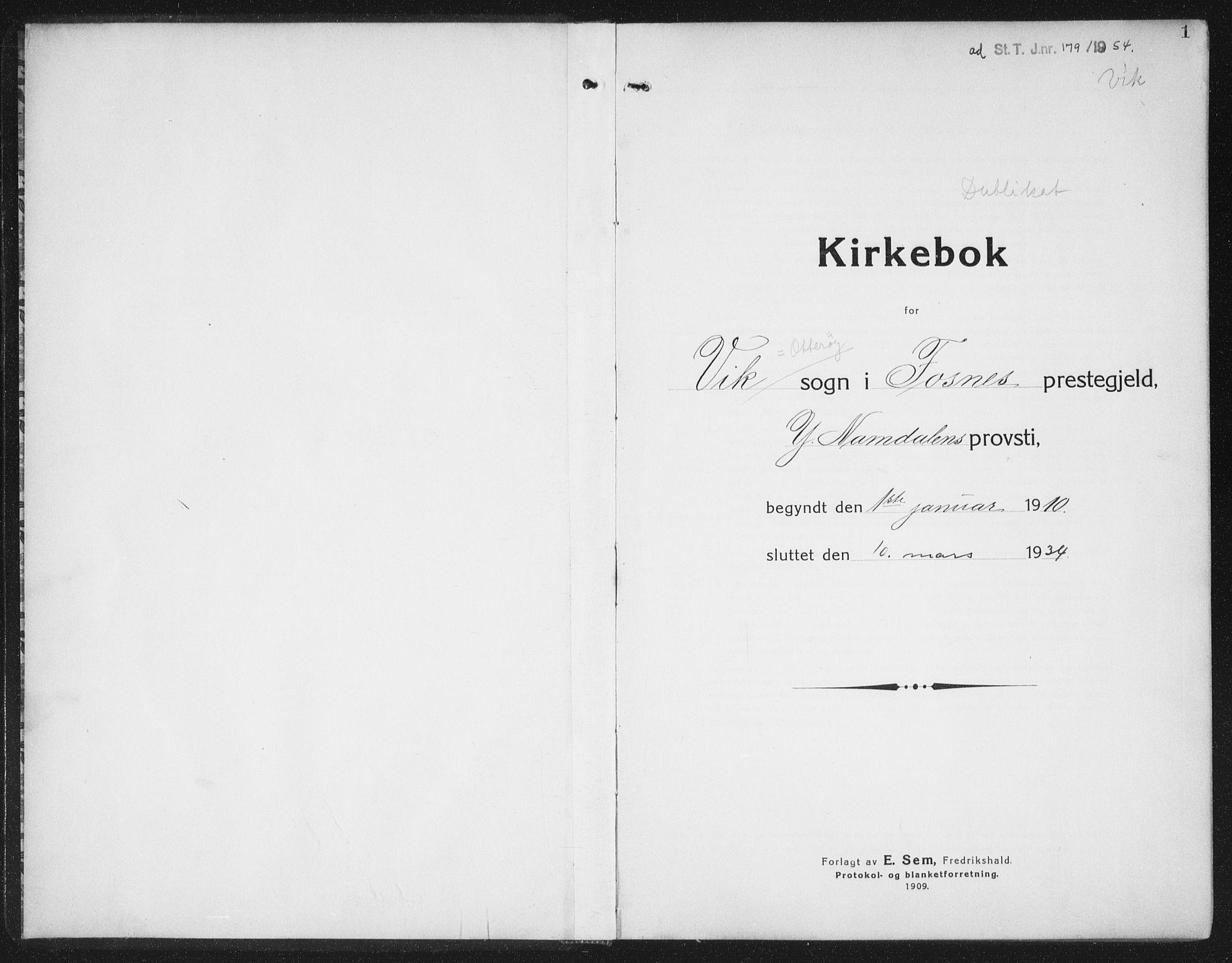 SAT, Ministerialprotokoller, klokkerbøker og fødselsregistre - Nord-Trøndelag, 774/L0630: Klokkerbok nr. 774C01, 1910-1934, s. 1