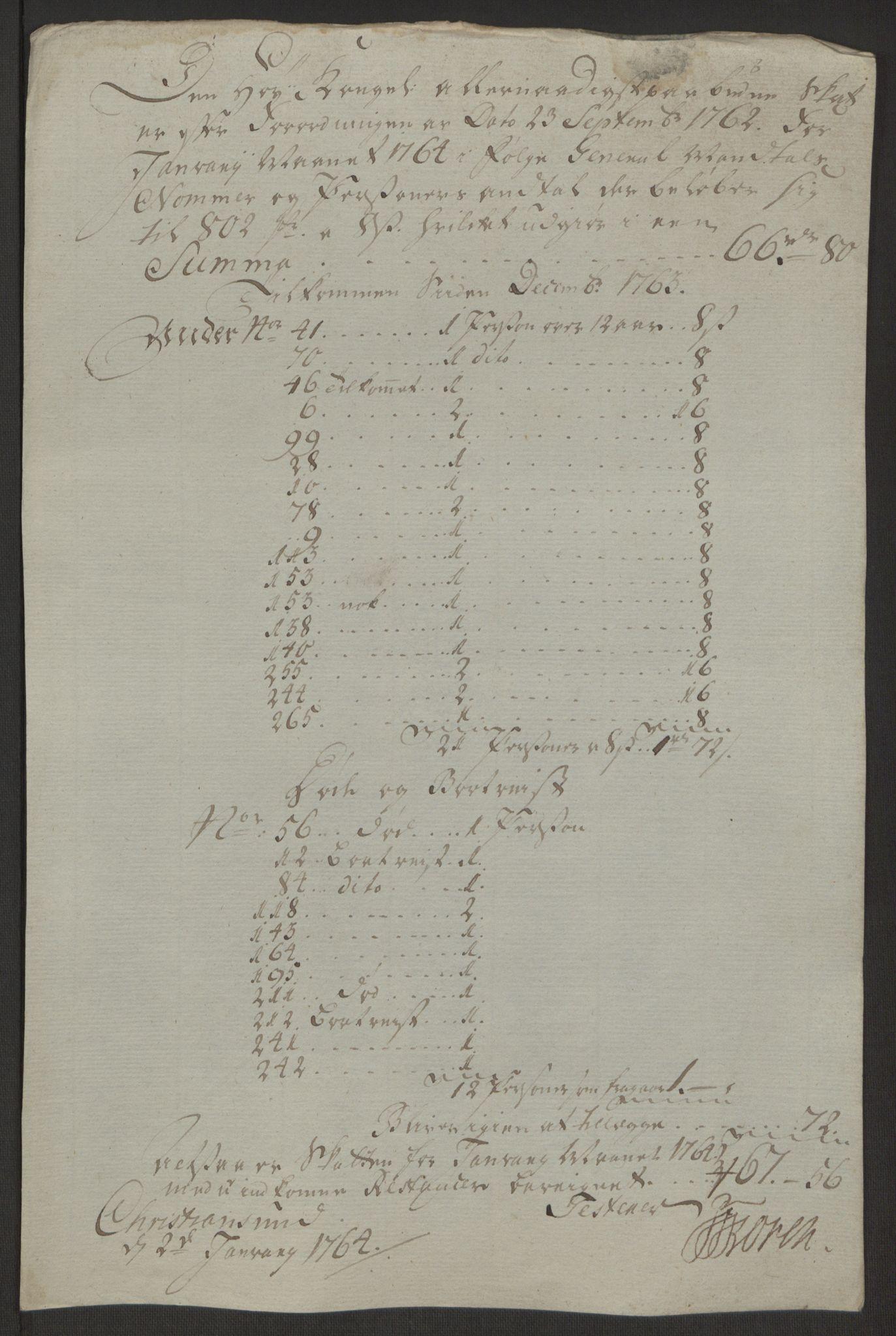RA, Rentekammeret inntil 1814, Reviderte regnskaper, Byregnskaper, R/Rr/L0495: [R1] Kontribusjonsregnskap, 1762-1772, s. 37