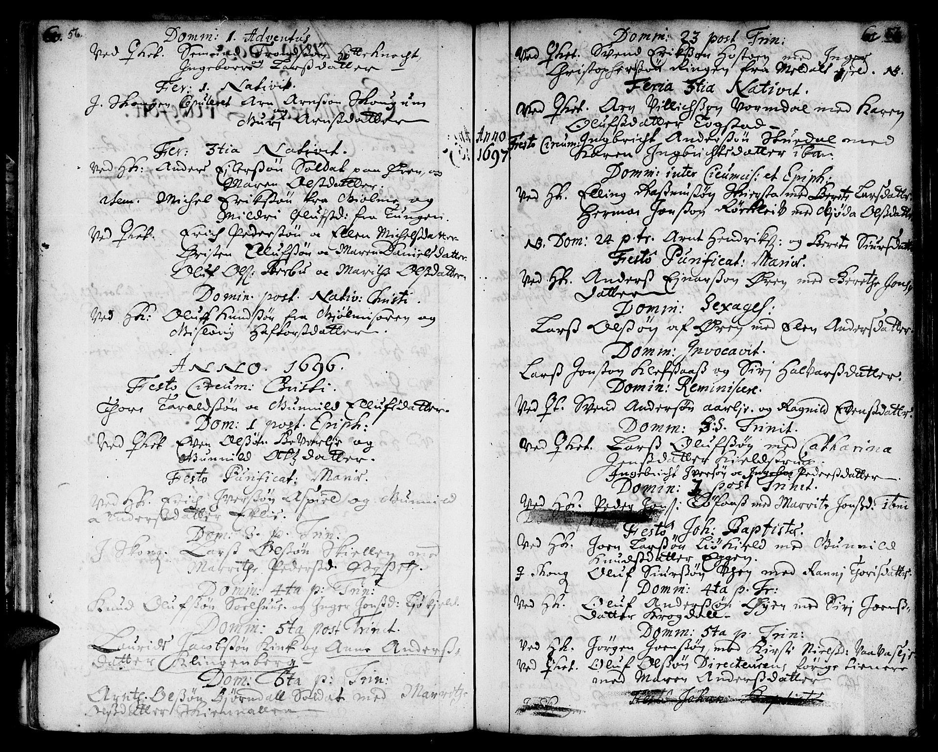 SAT, Ministerialprotokoller, klokkerbøker og fødselsregistre - Sør-Trøndelag, 668/L0801: Ministerialbok nr. 668A01, 1695-1716, s. 56-57