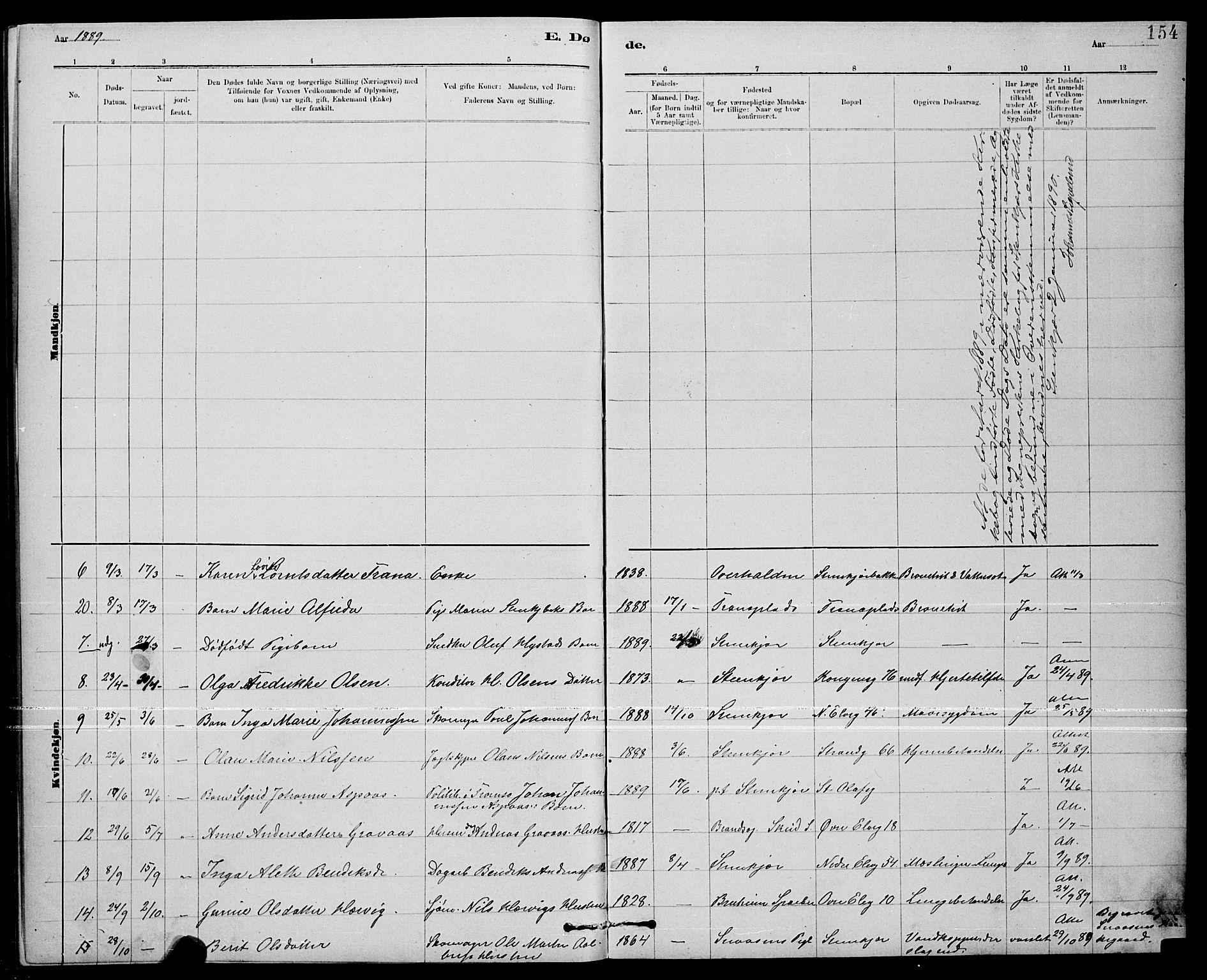 SAT, Ministerialprotokoller, klokkerbøker og fødselsregistre - Nord-Trøndelag, 739/L0374: Klokkerbok nr. 739C02, 1883-1898, s. 154