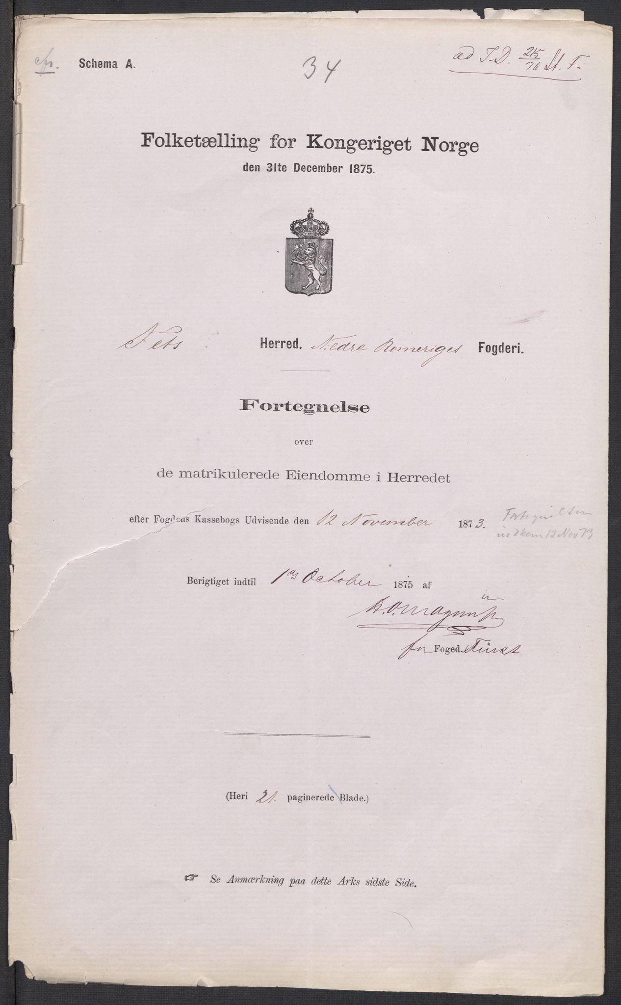 RA, Folketelling 1875 for 0227P Fet prestegjeld, 1875, s. 1