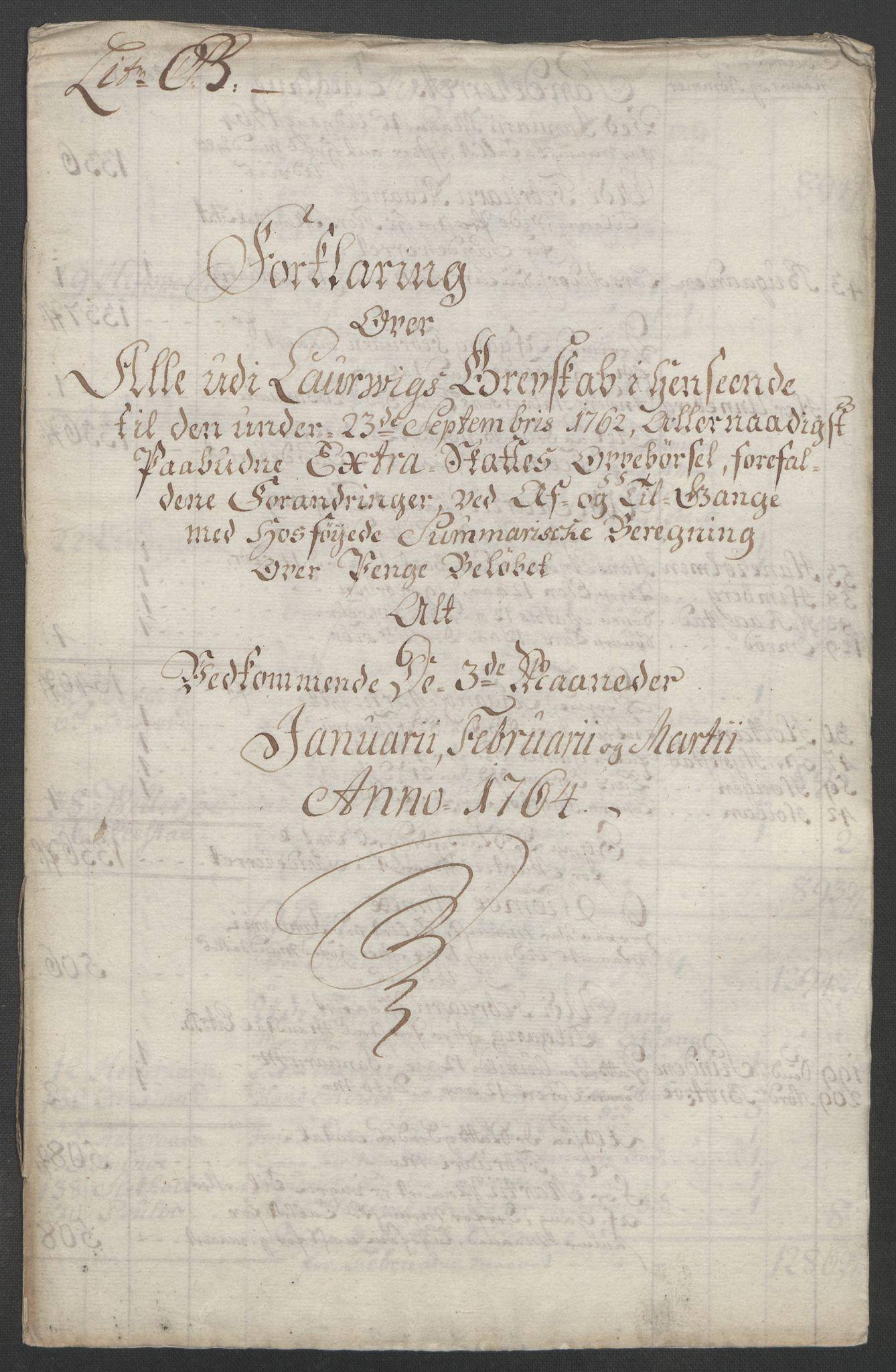 RA, Rentekammeret inntil 1814, Reviderte regnskaper, Fogderegnskap, R33/L2033: Ekstraskatten Larvik grevskap, 1762-1764, s. 486