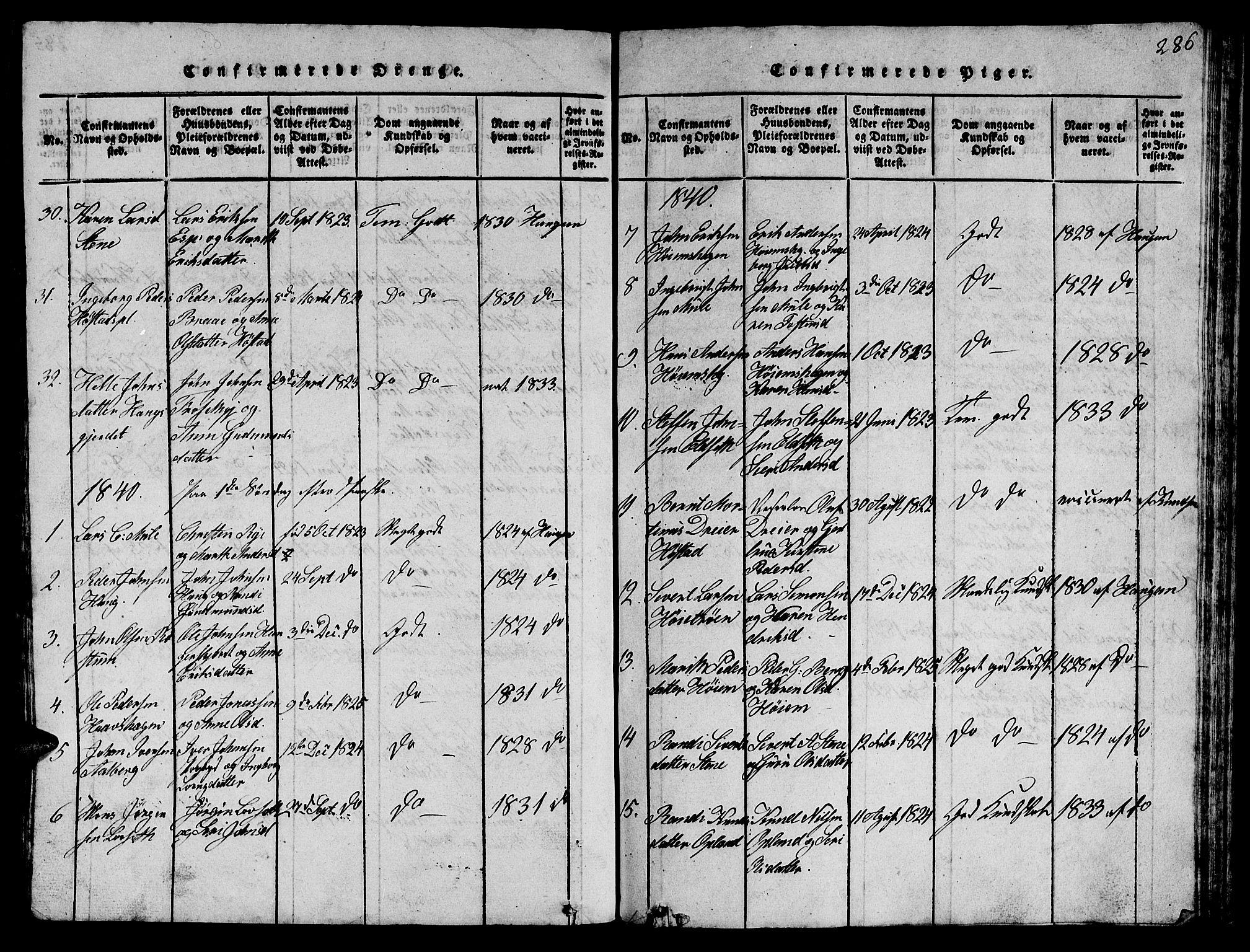 SAT, Ministerialprotokoller, klokkerbøker og fødselsregistre - Sør-Trøndelag, 612/L0385: Klokkerbok nr. 612C01, 1816-1845, s. 286