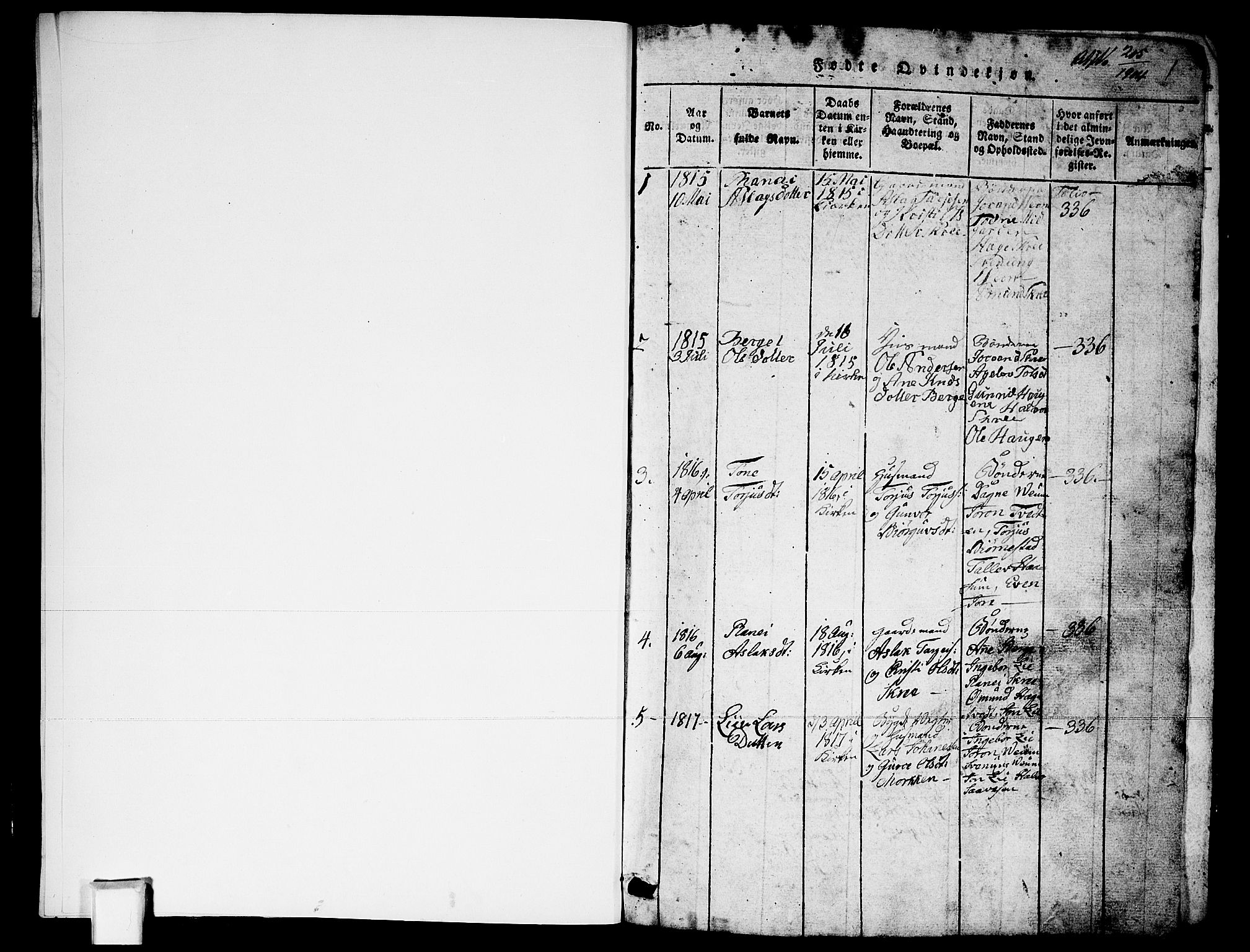 SAKO, Fyresdal kirkebøker, G/Ga/L0003: Klokkerbok nr. I 3, 1815-1863, s. 1