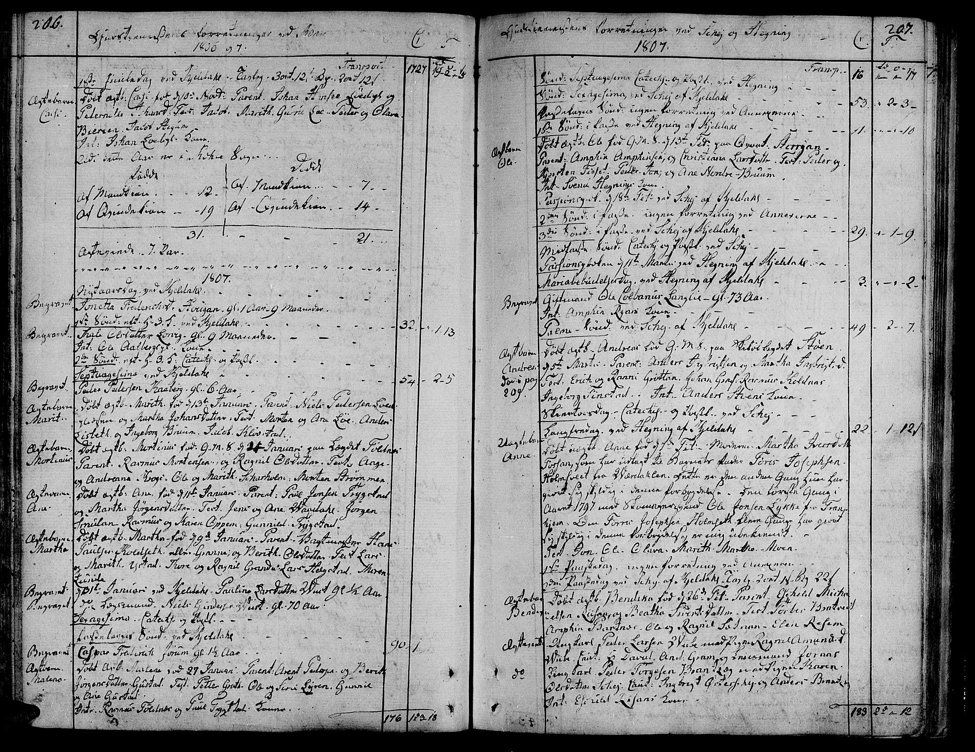SAT, Ministerialprotokoller, klokkerbøker og fødselsregistre - Nord-Trøndelag, 735/L0332: Ministerialbok nr. 735A03, 1795-1816, s. 206-207