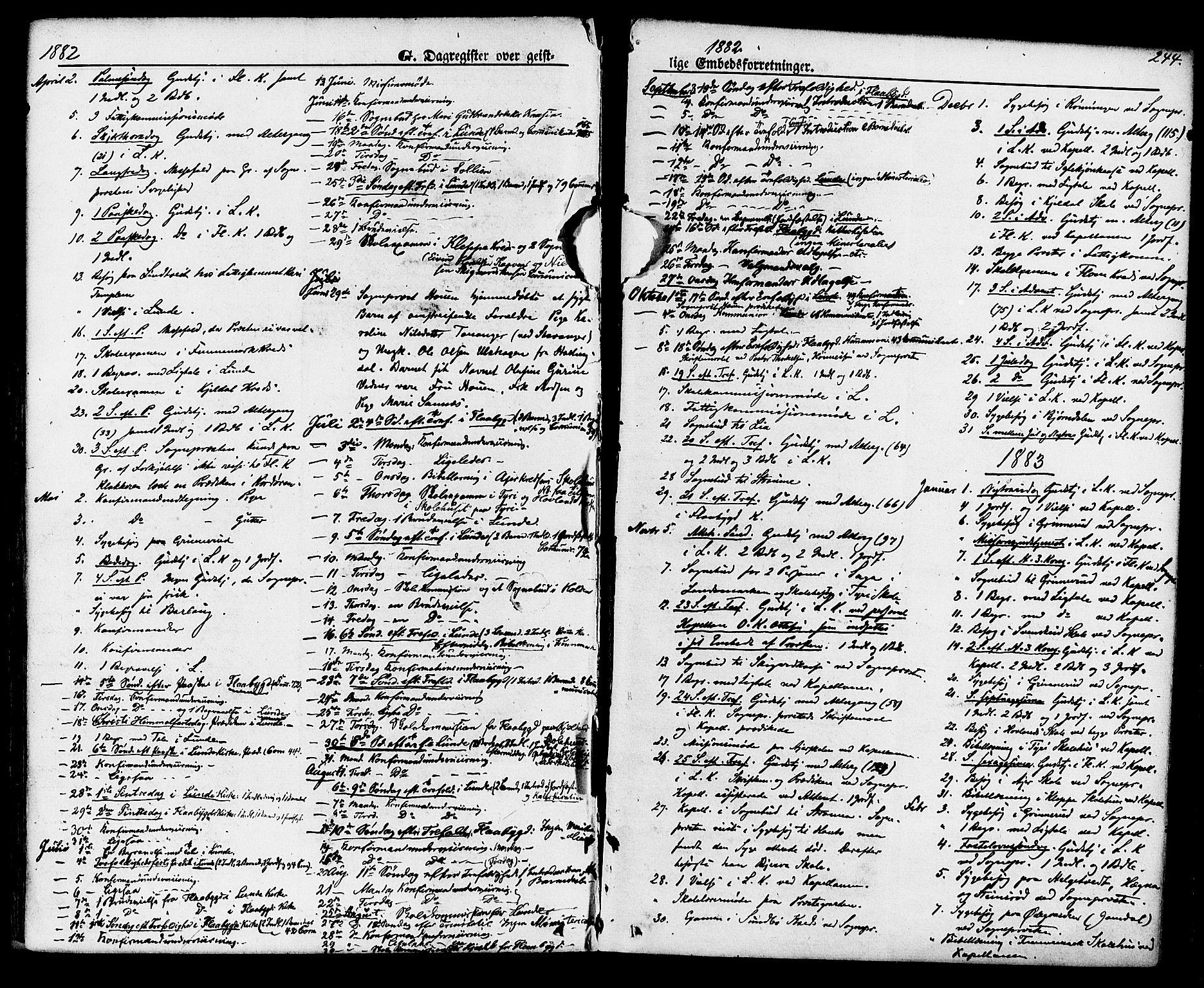 SAKO, Lunde kirkebøker, F/Fa/L0001: Ministerialbok nr. I 1, 1866-1883, s. 244