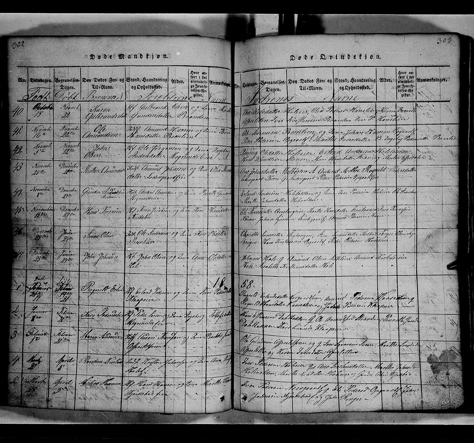SAH, Gausdal prestekontor, Klokkerbok nr. 2, 1818-1874, s. 302-303