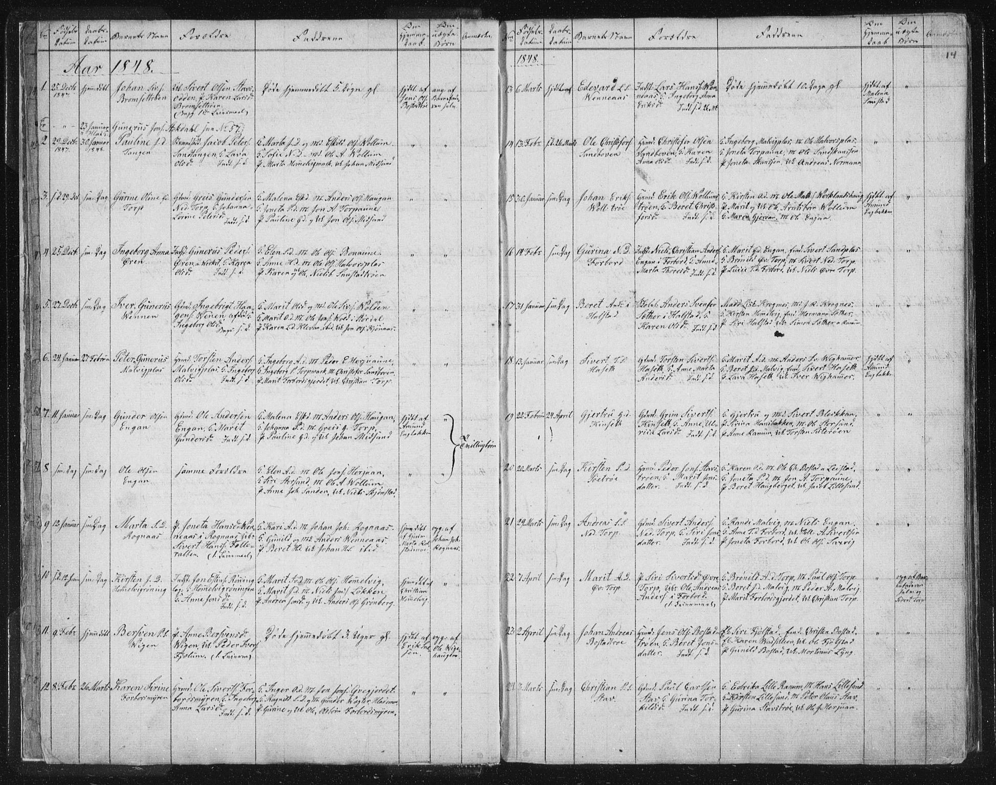 SAT, Ministerialprotokoller, klokkerbøker og fødselsregistre - Sør-Trøndelag, 616/L0406: Ministerialbok nr. 616A03, 1843-1879, s. 14